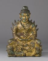Seated Buddha Shakyamuni In Meditation With Hands In Dhyana-Mudra And With Flaming Shoulders