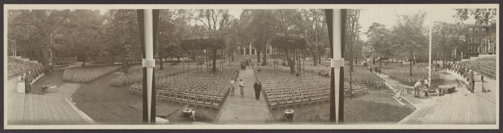 Commencement preparations in Tercentenary theatre, circa 1930s