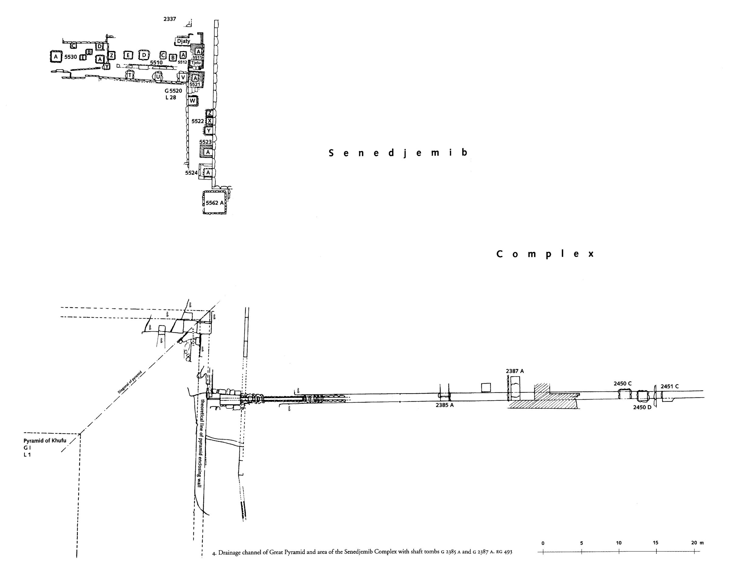 Maps and plans: Plan of tombs at NW corner of Khufu pyramid