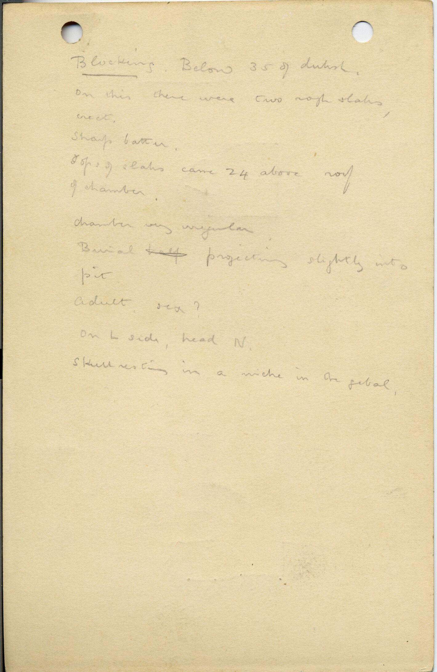 Notes: G 1009, Shaft B, notes