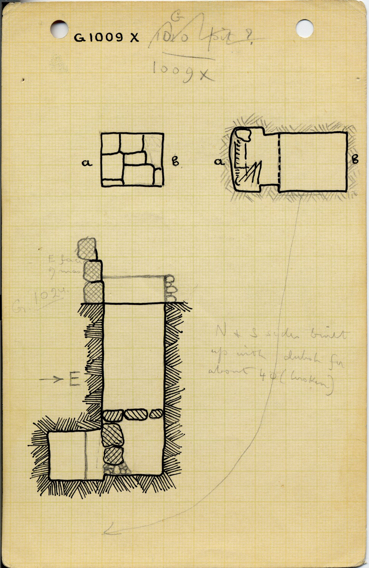 Maps and plans: G 1009, Shaft X