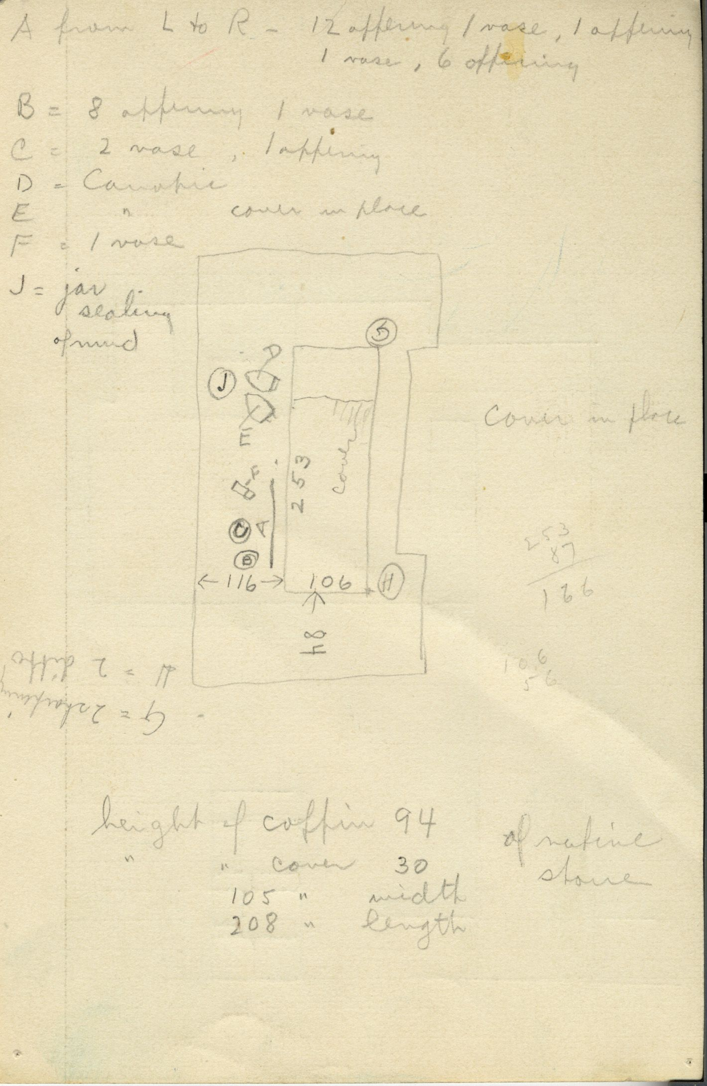 Maps and plans: G 1011, Shaft P, notes