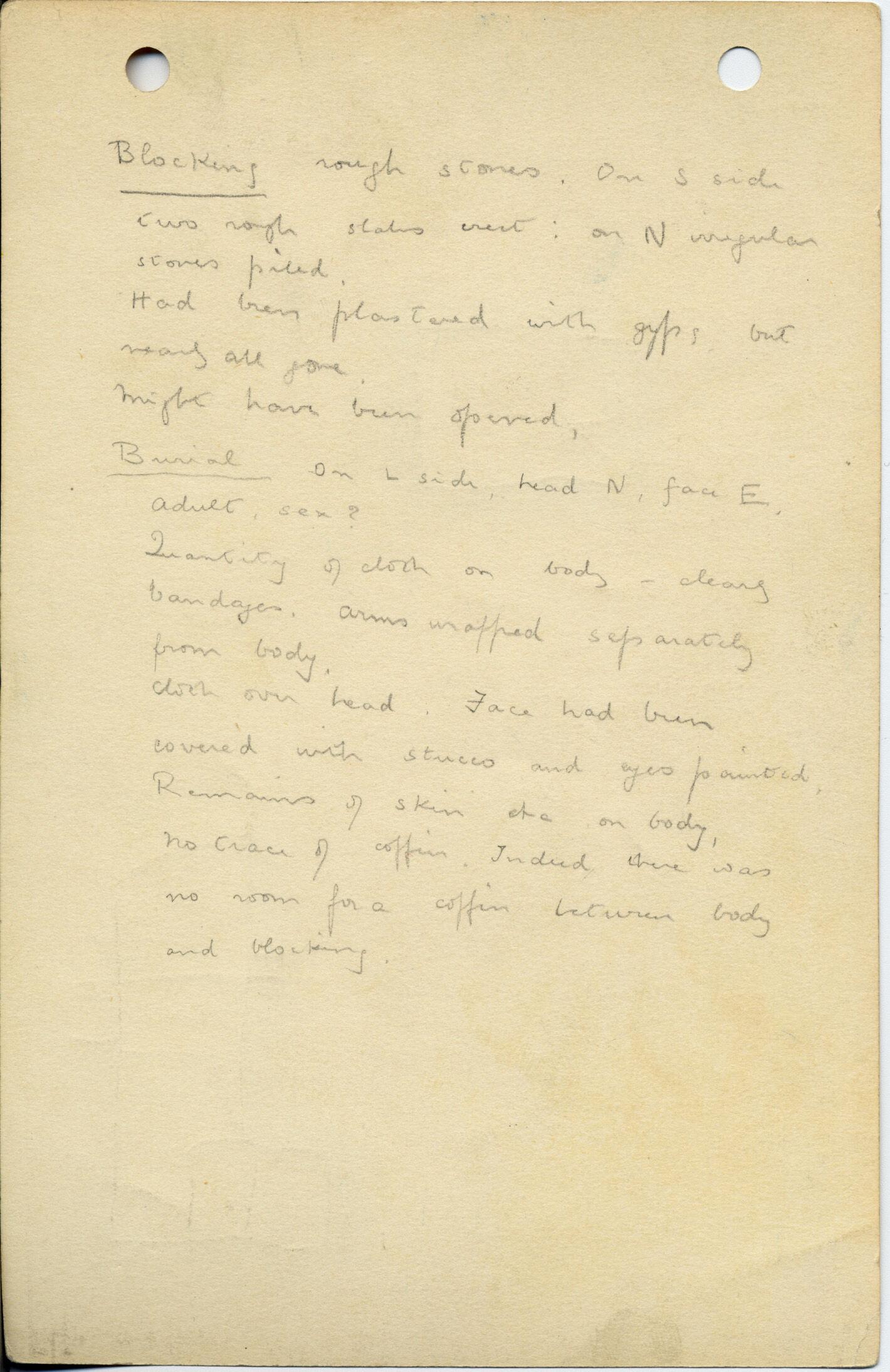 Notes: G 1017, Shaft B, notes