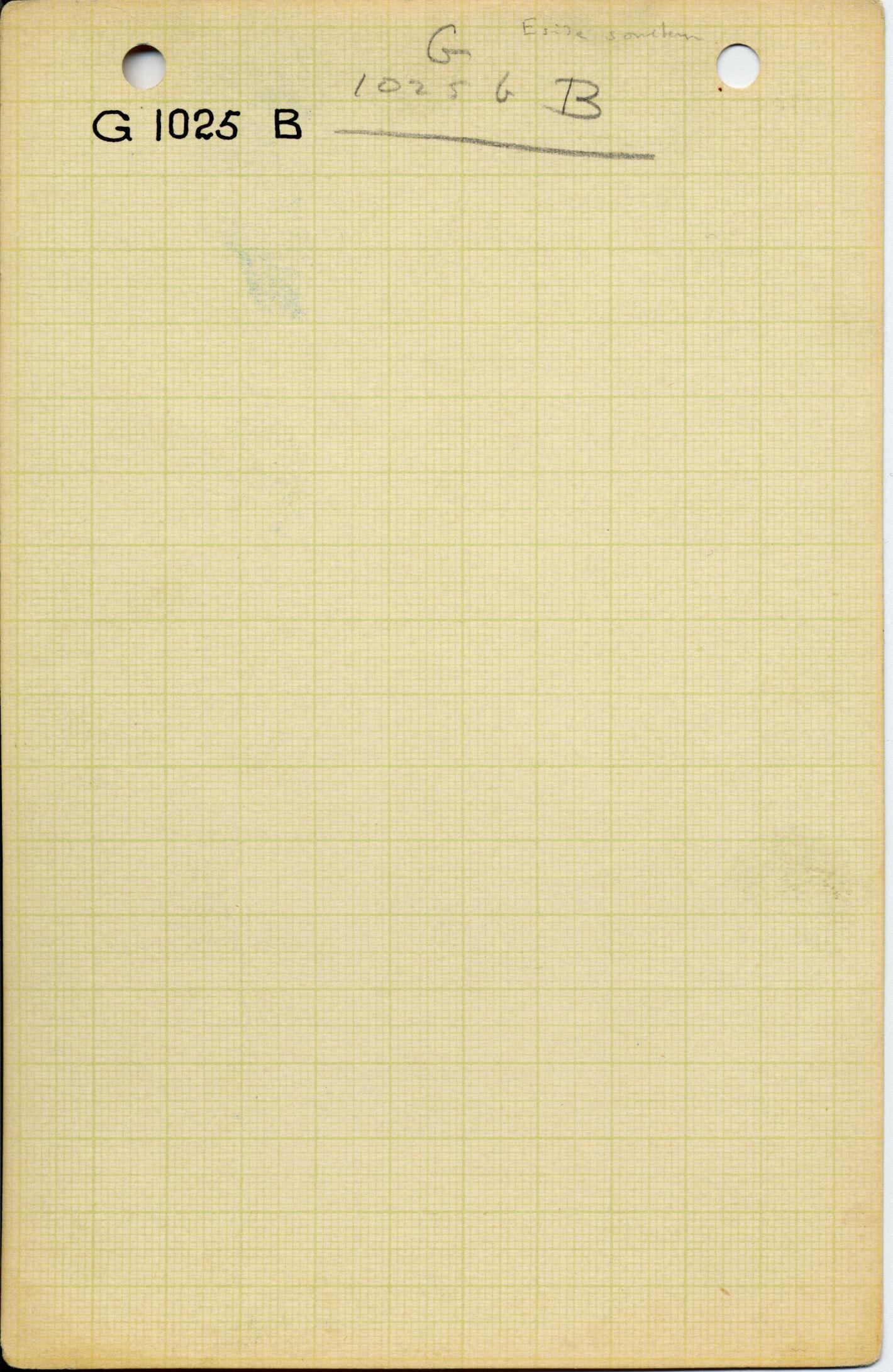 Notes: G 1025b[?], Shaft B (blank card)