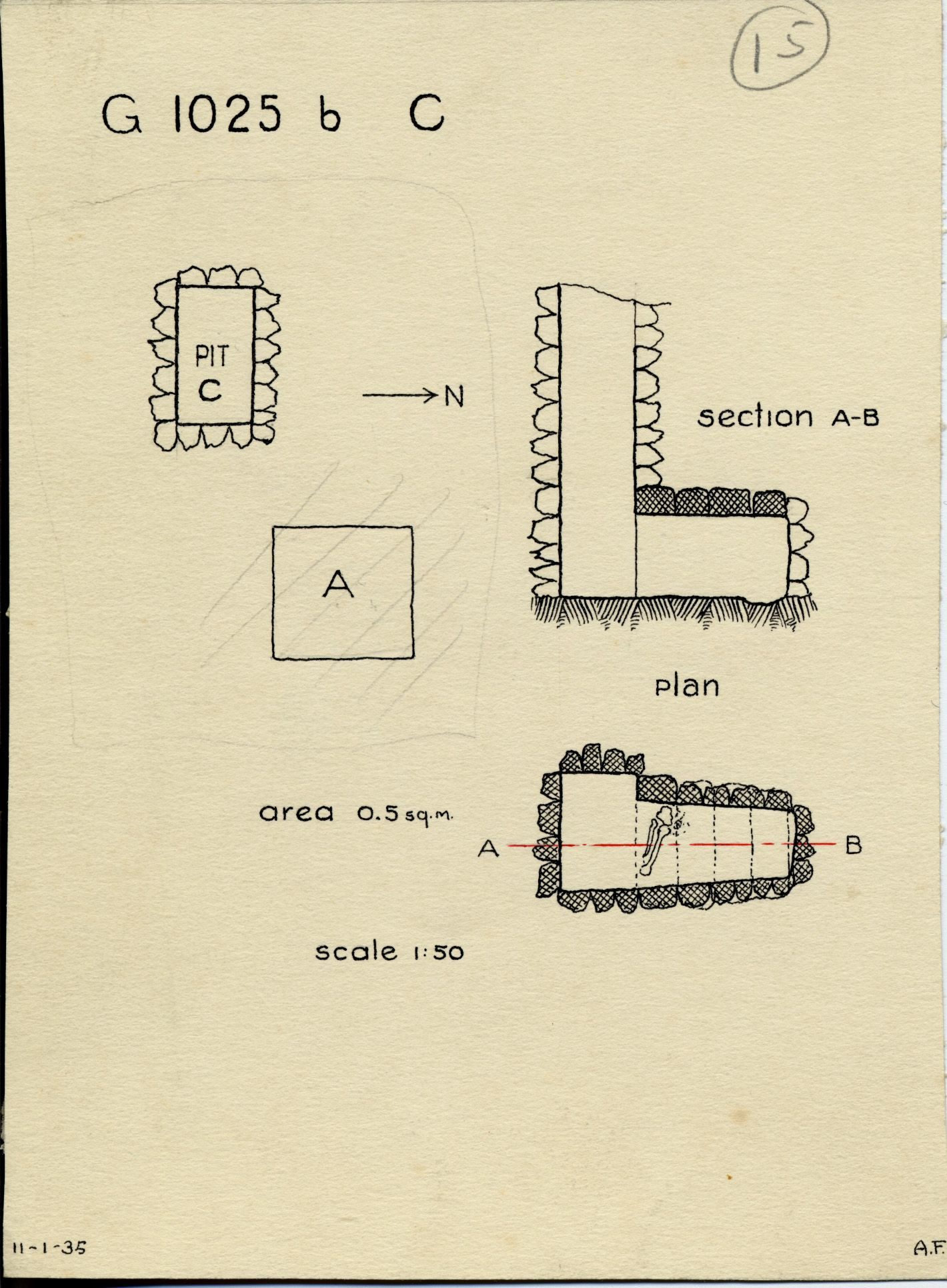 Maps and plans: G 1025b, Shaft C