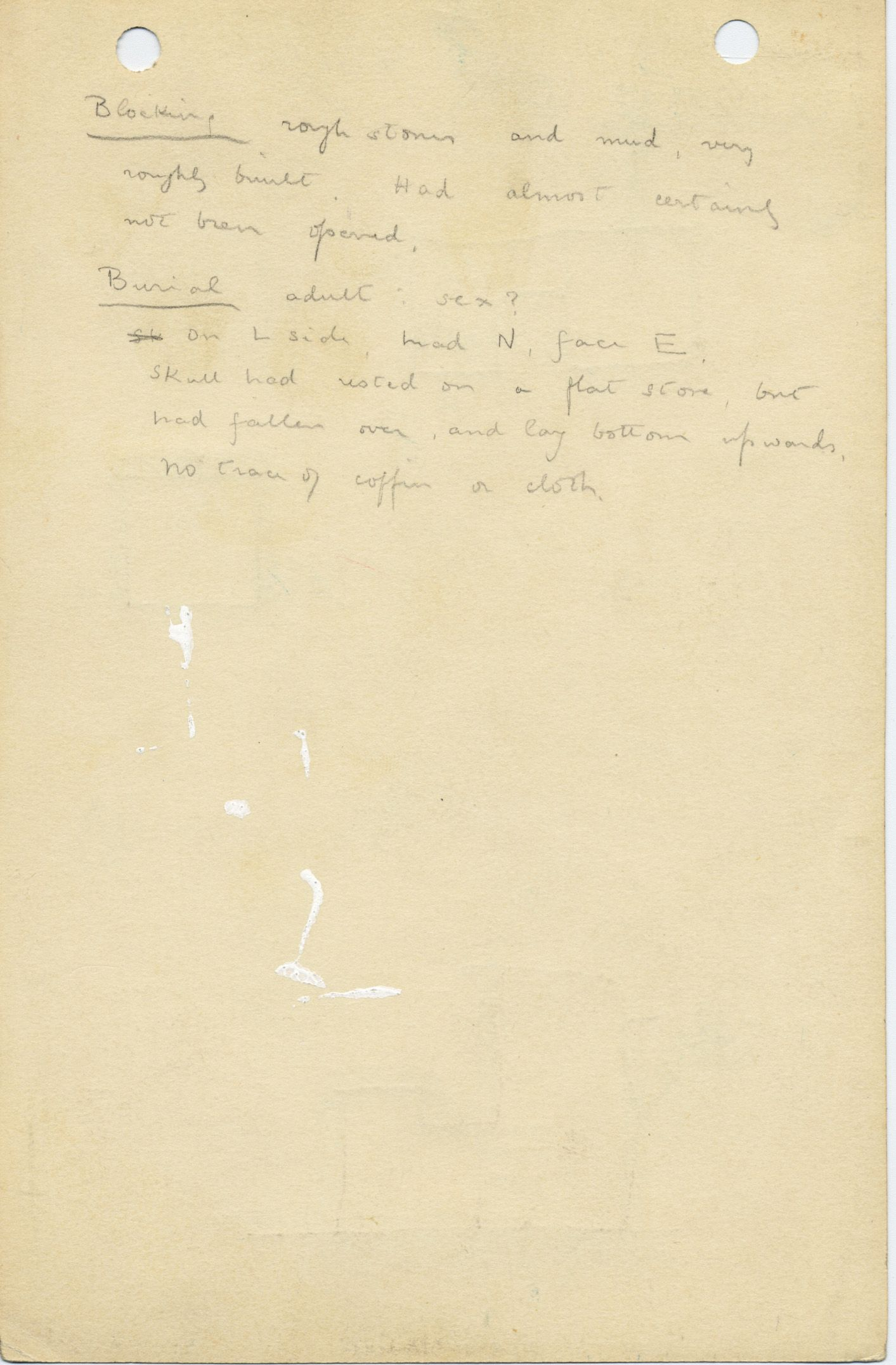 Notes: G 1026, Shaft E, notes