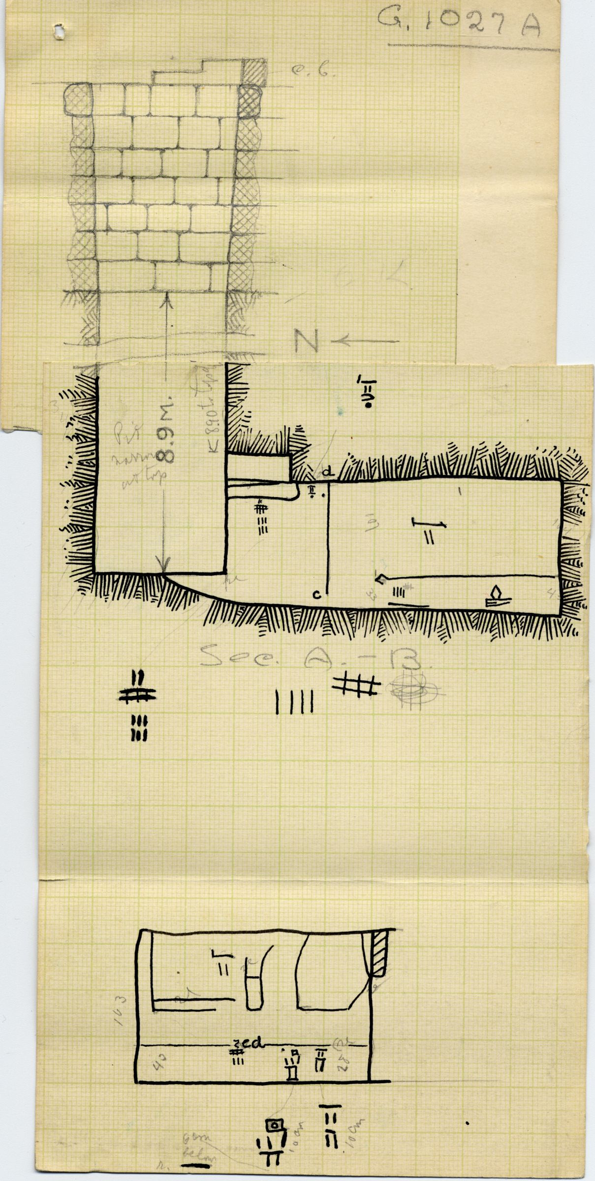 Maps and plans: G 1027, Shaft A