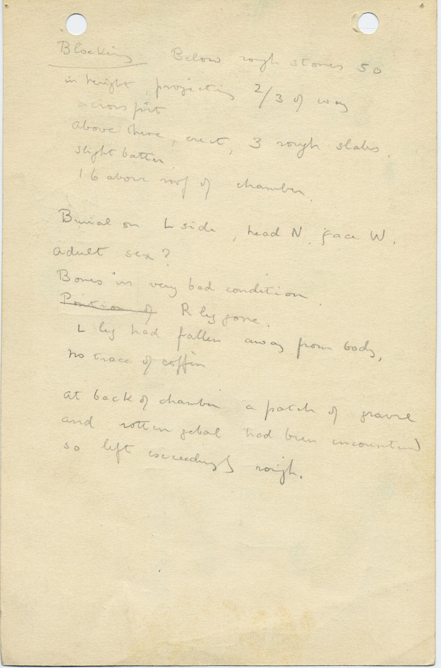 Notes: G 1027, Shaft D, notes