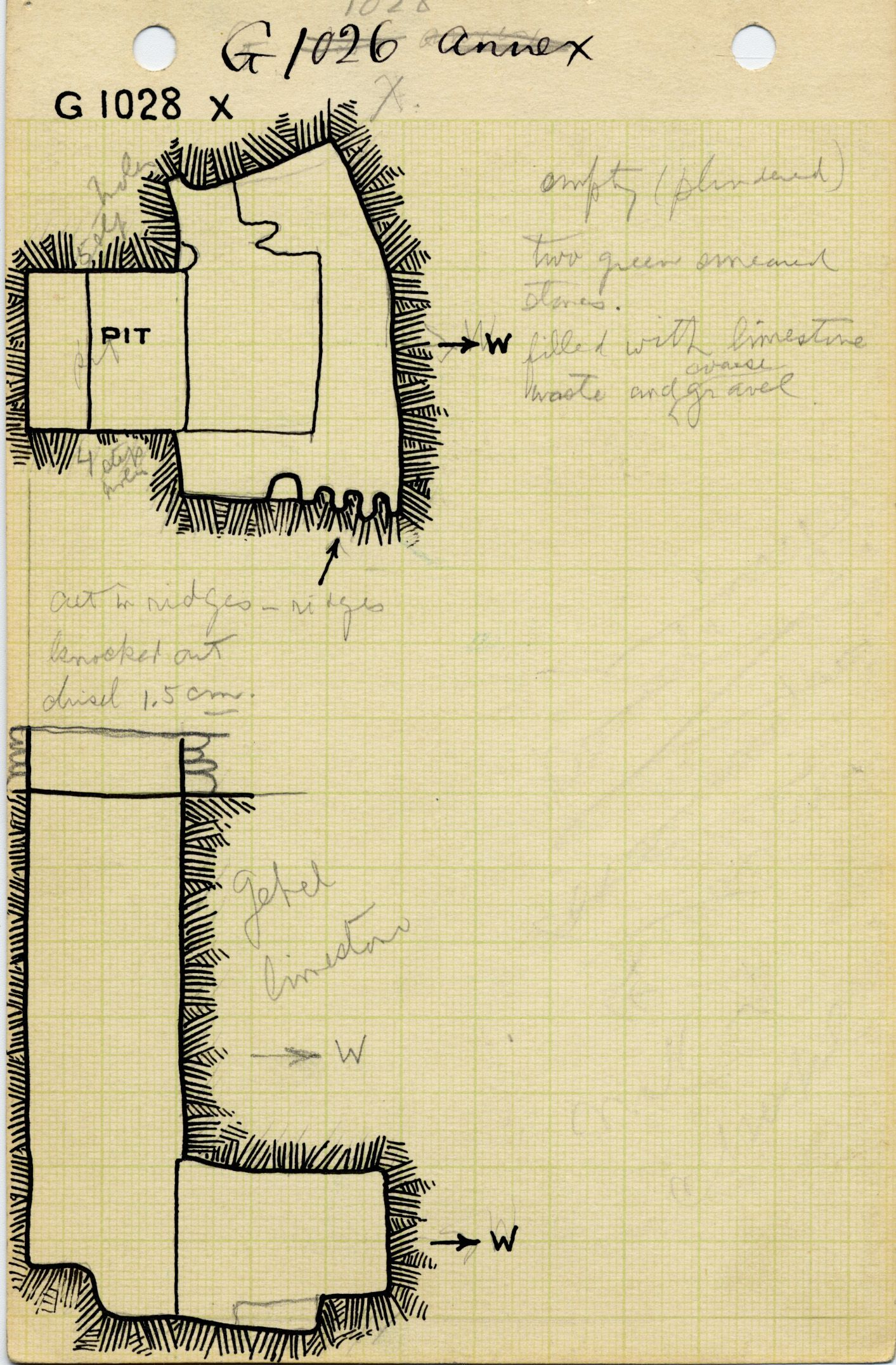 Maps and plans: G 1028, Shaft X