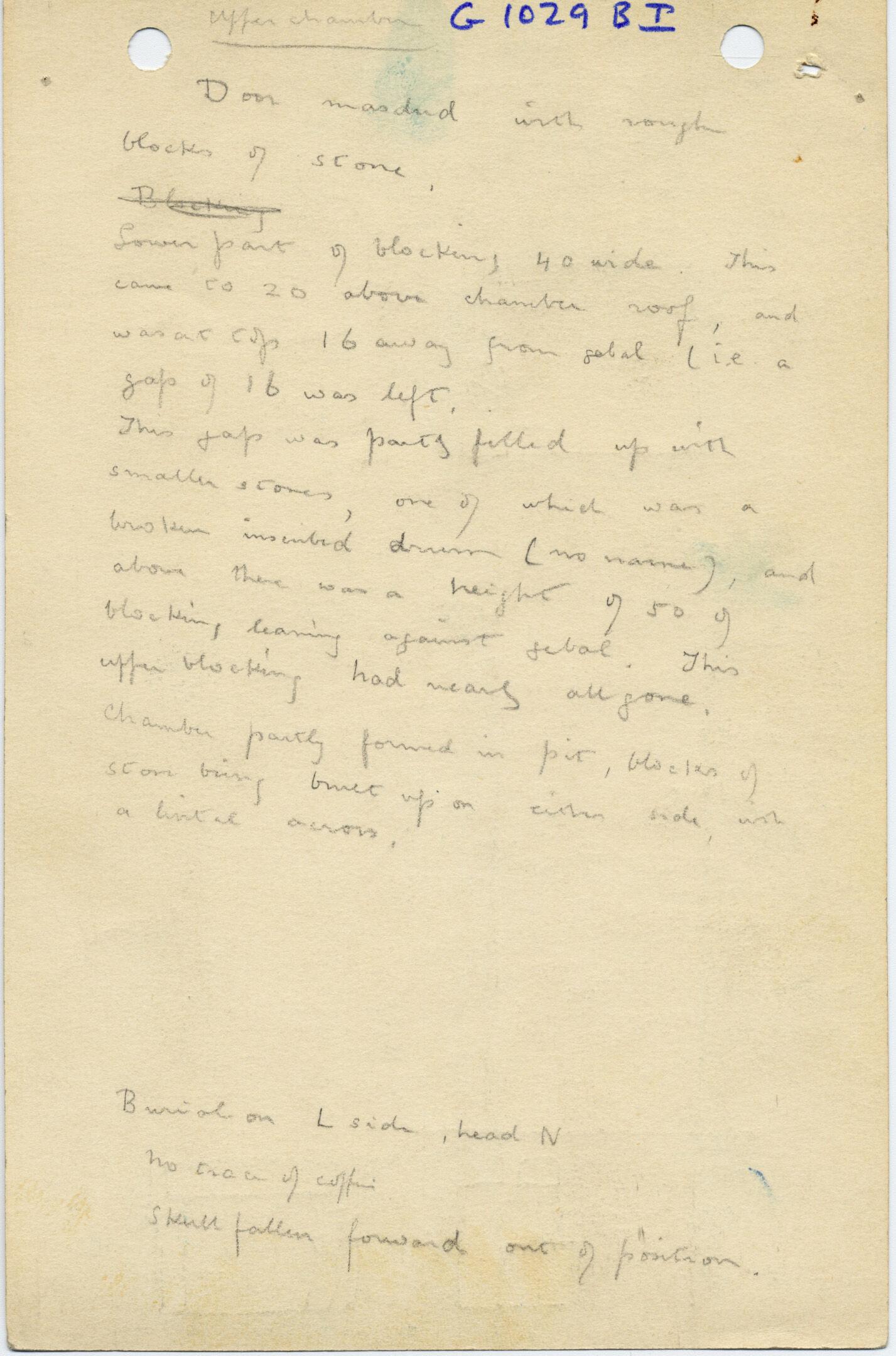 Notes: G 1029, Shaft B (I), notes
