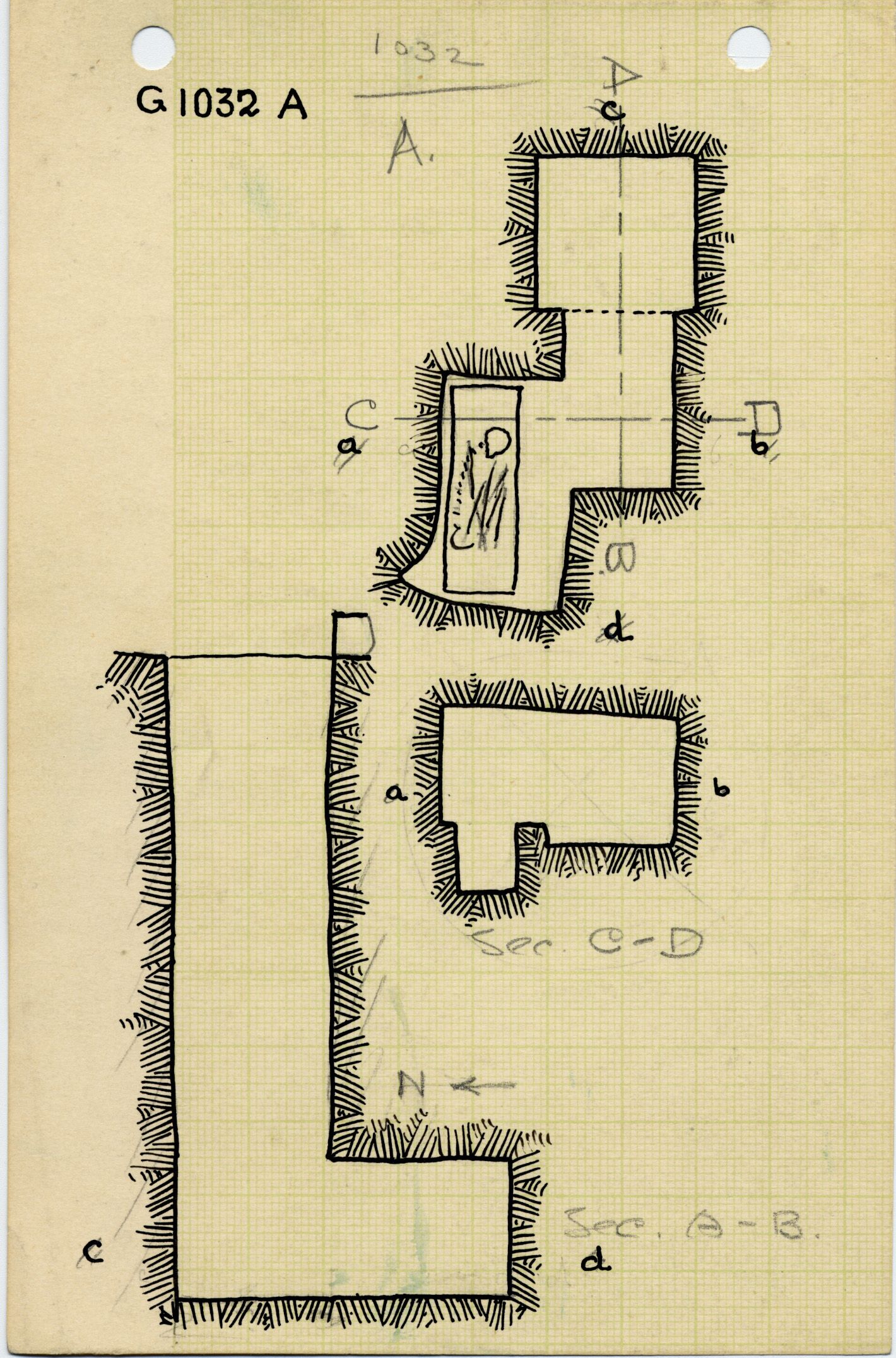 Maps and plans: G 1032, Shaft A