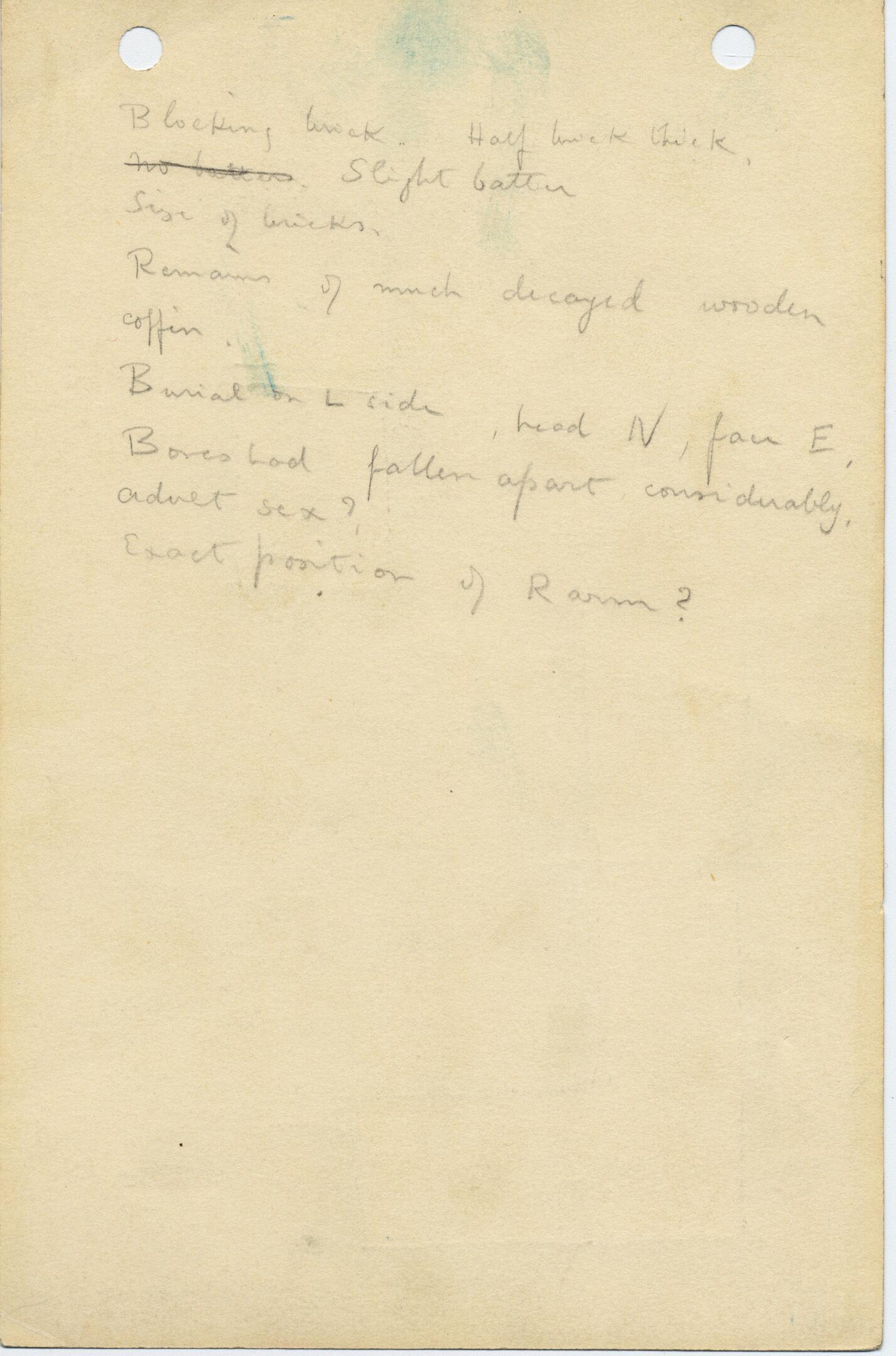 Notes: G 1033+1033a: G 1033, Shaft A, notes