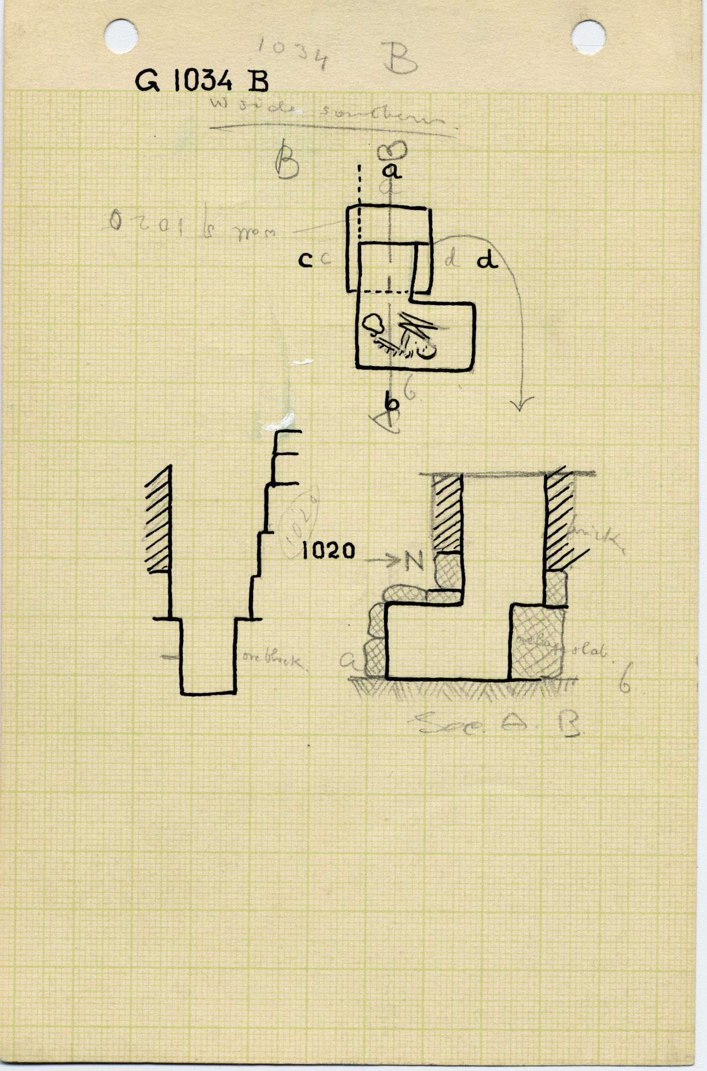 Maps and plans: G 1034, Shaft B