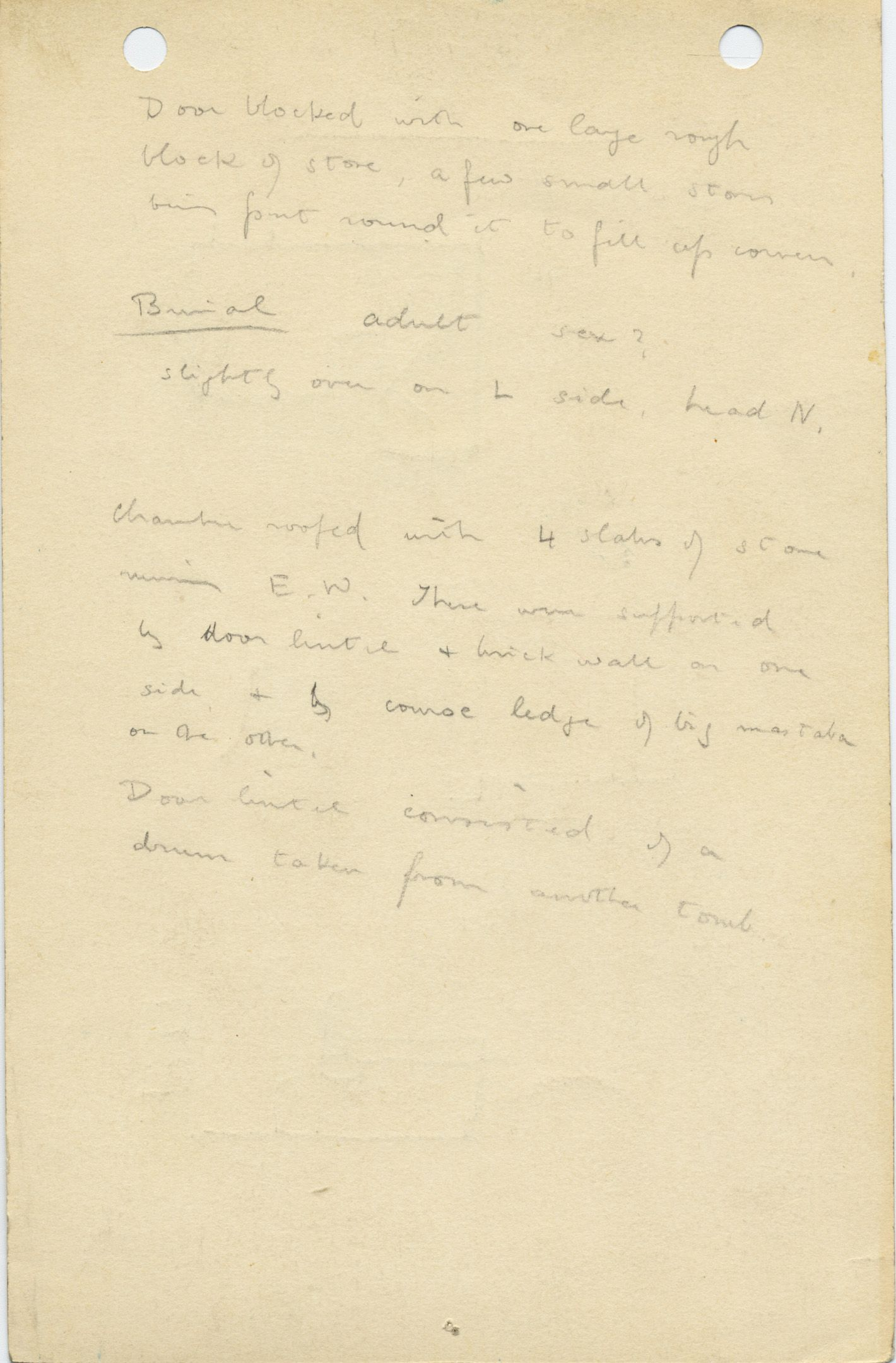 Notes: G 1034, Shaft D, notes