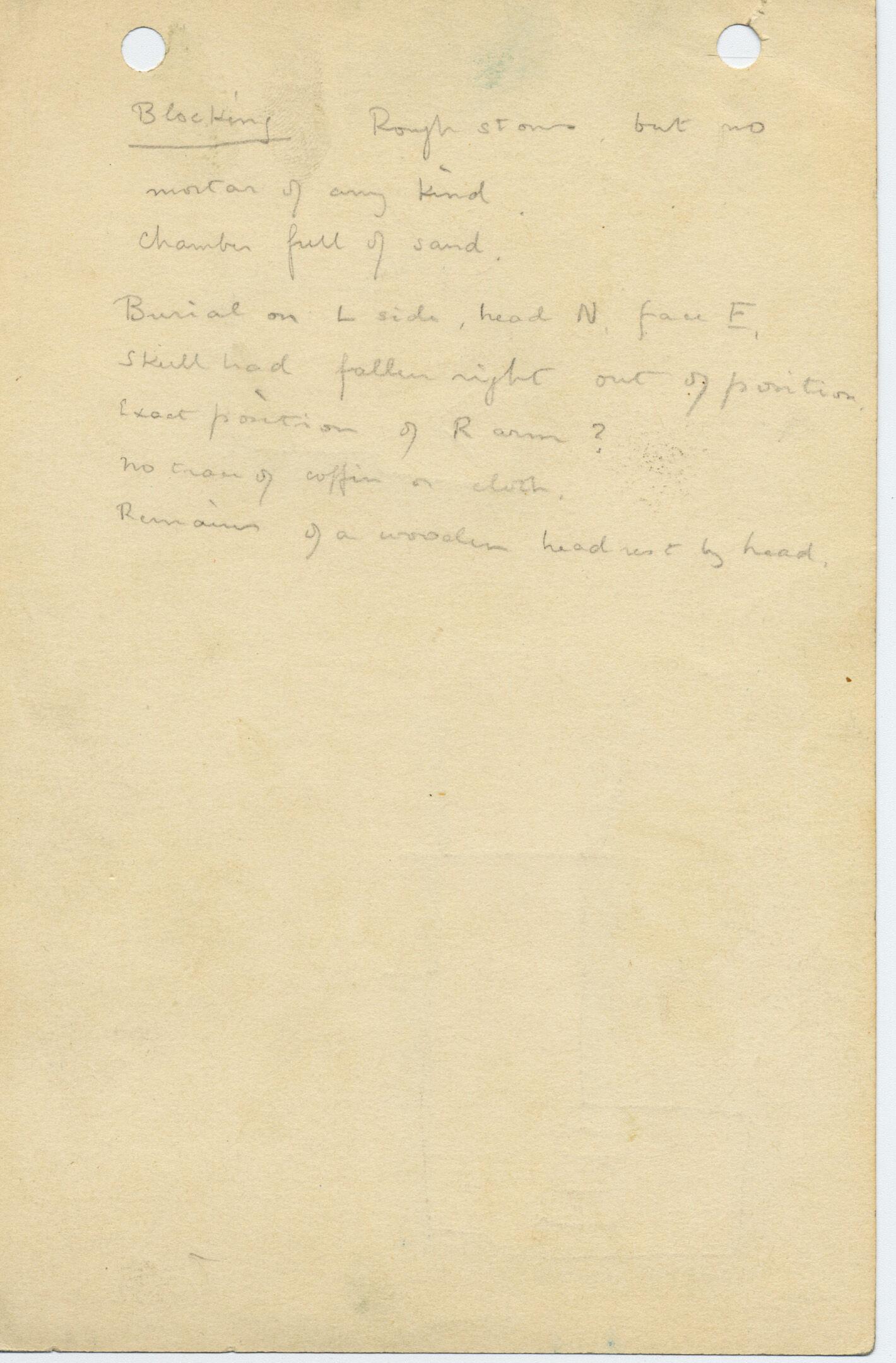 Notes: G 1035a, Shaft A, notes