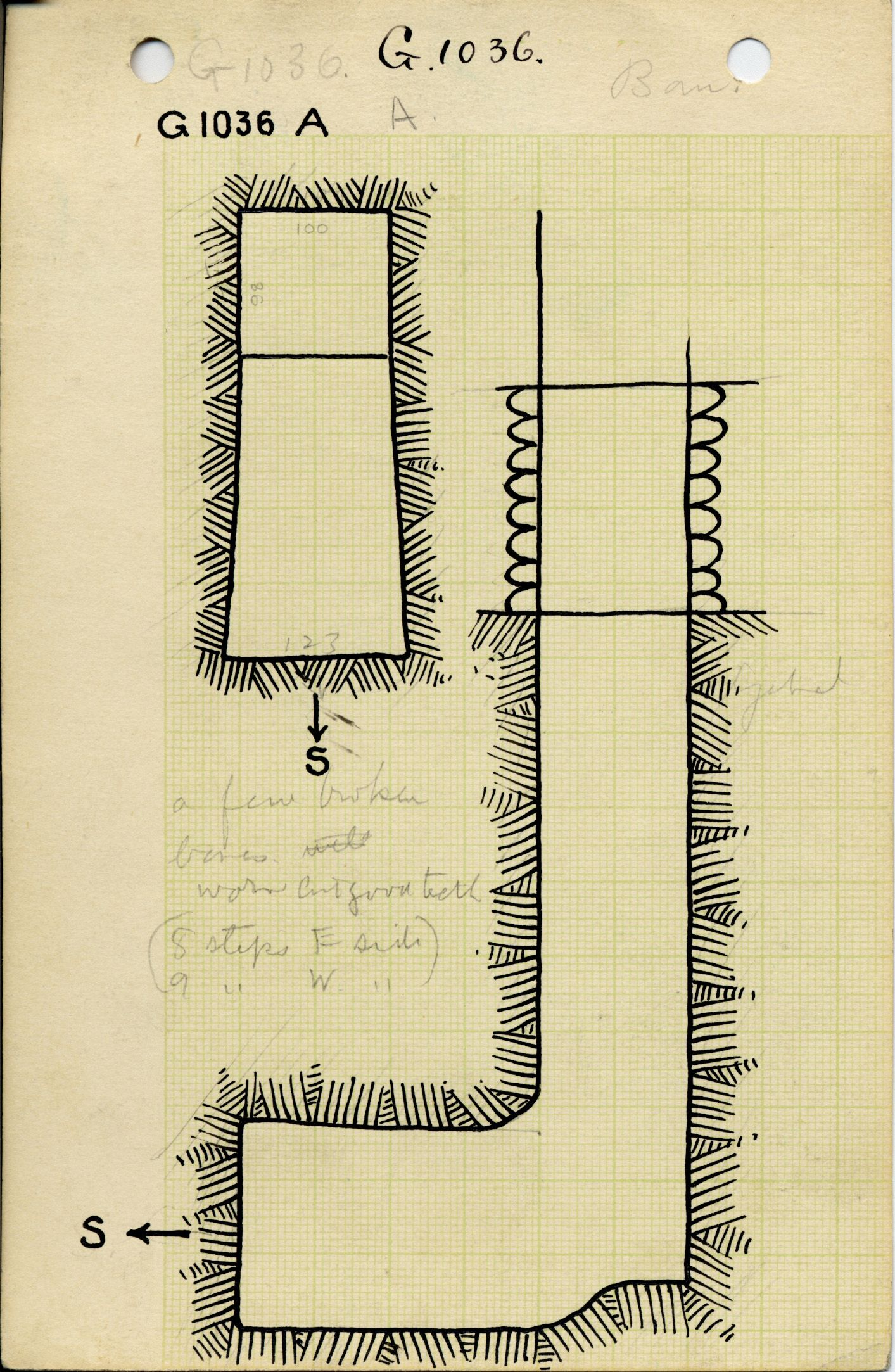 Maps and plans: G 1036, Shaft A