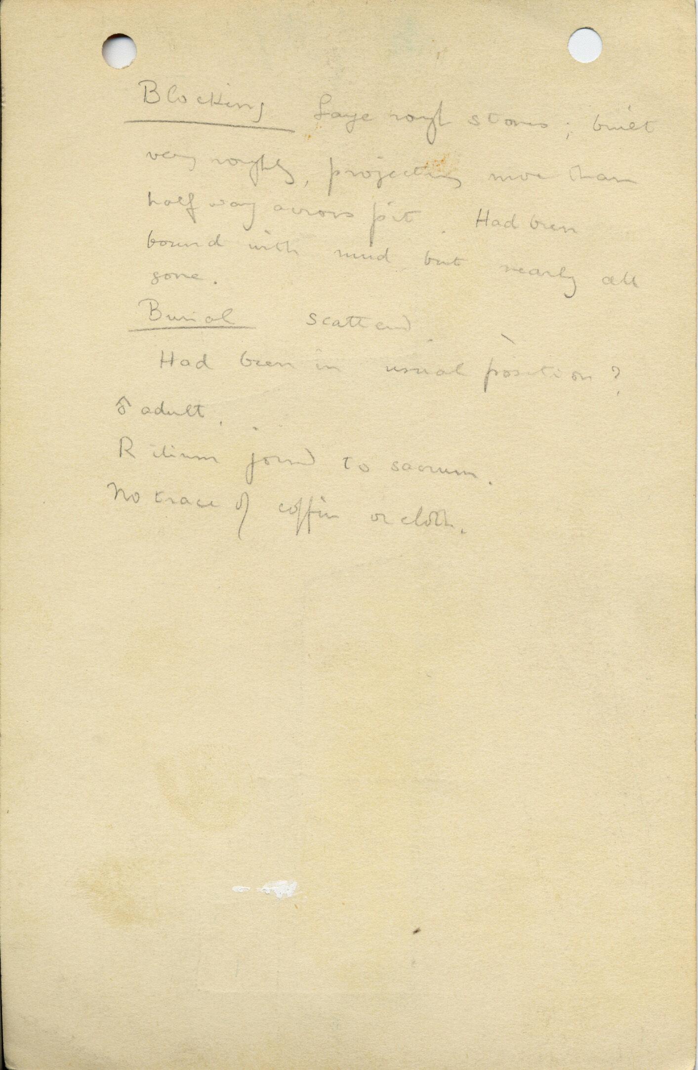 Notes: G 1036, Shaft B, notes