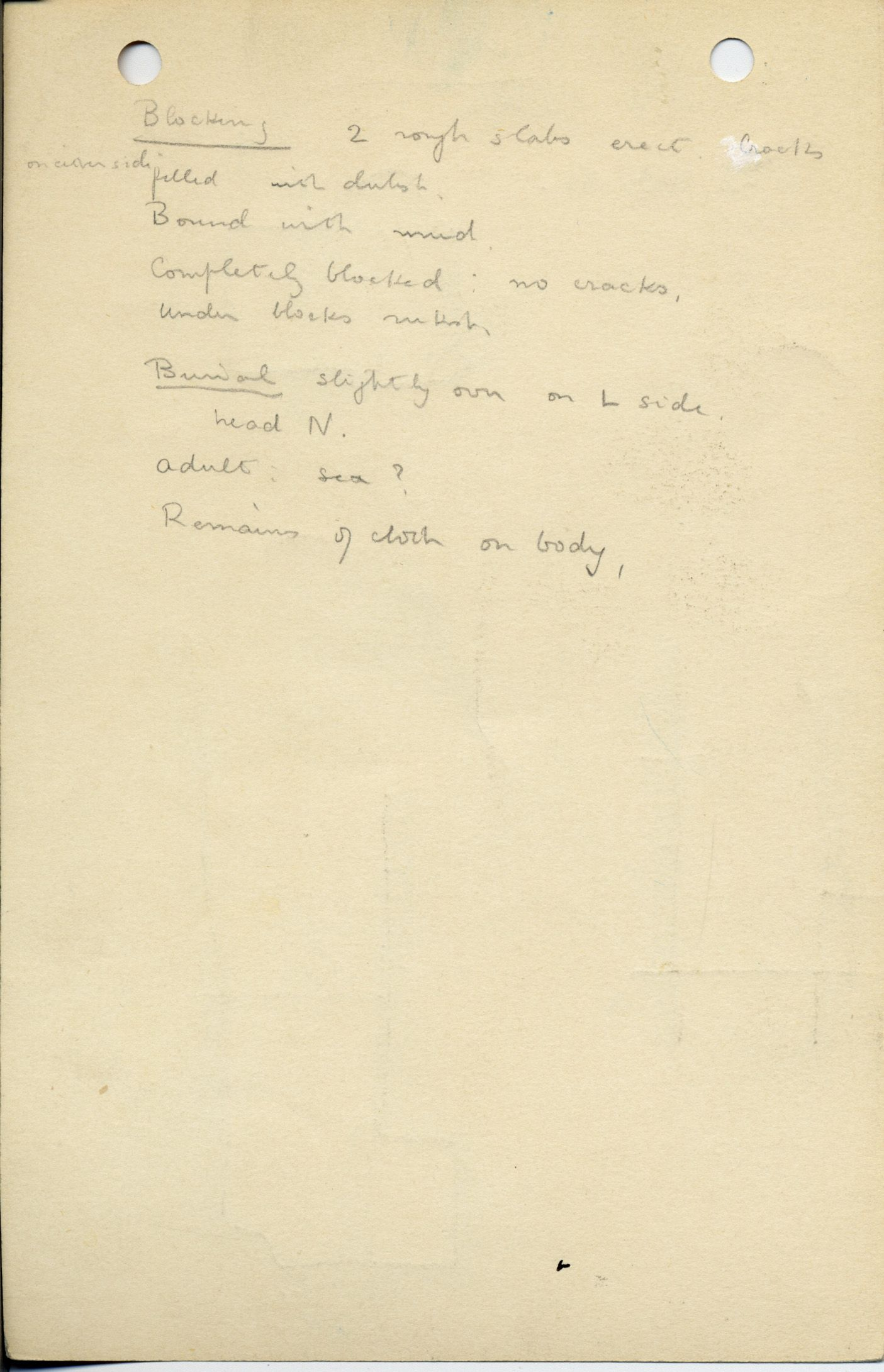 Notes: G 1037-Annex, Shaft G, notes