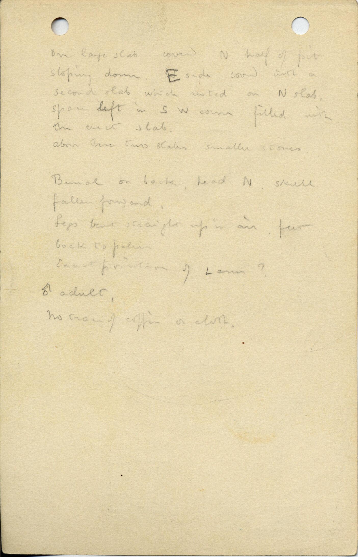 Notes: G 1038, Shaft D, notes