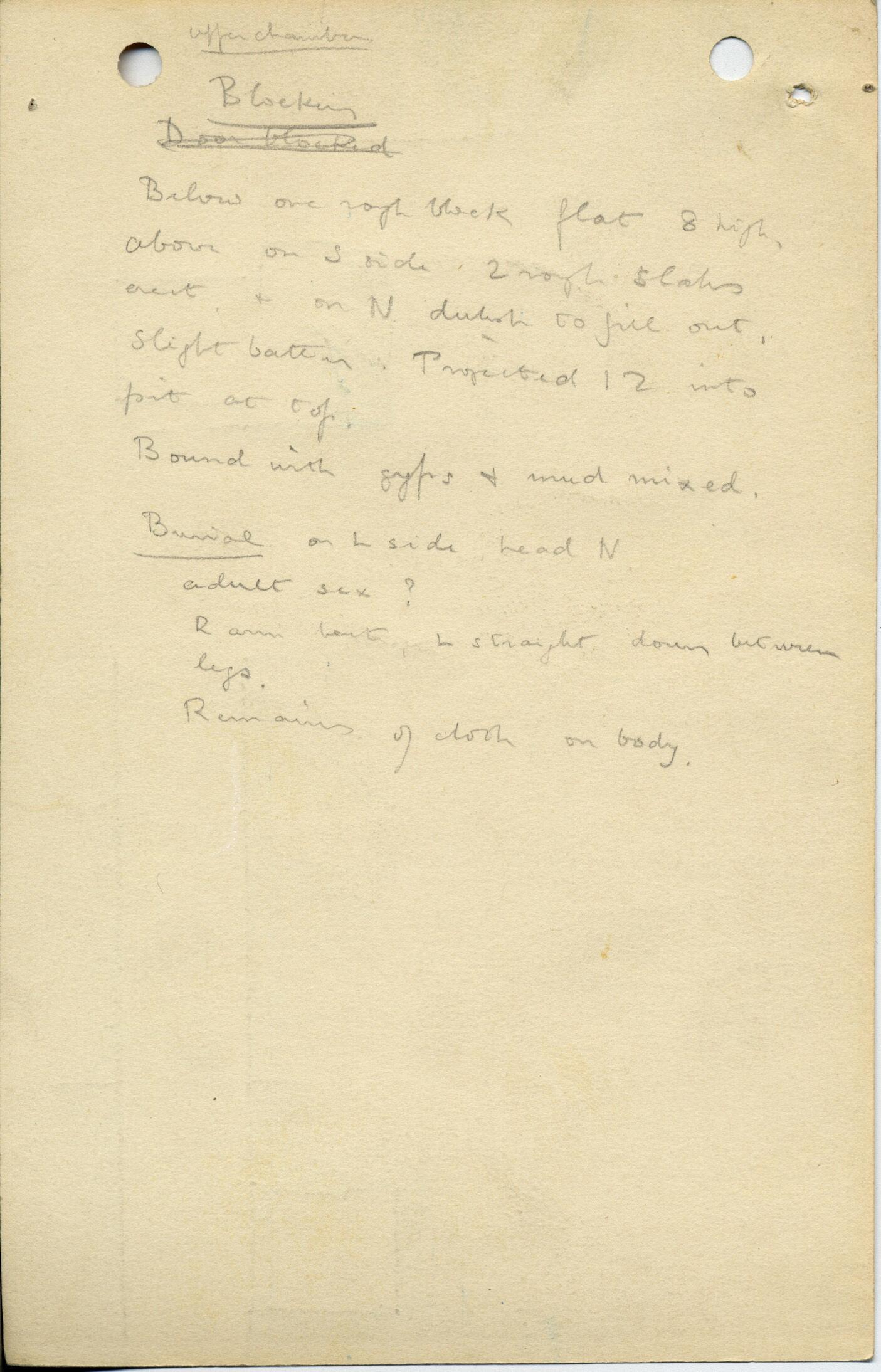 Notes: G 1039, Shaft E (I), notes