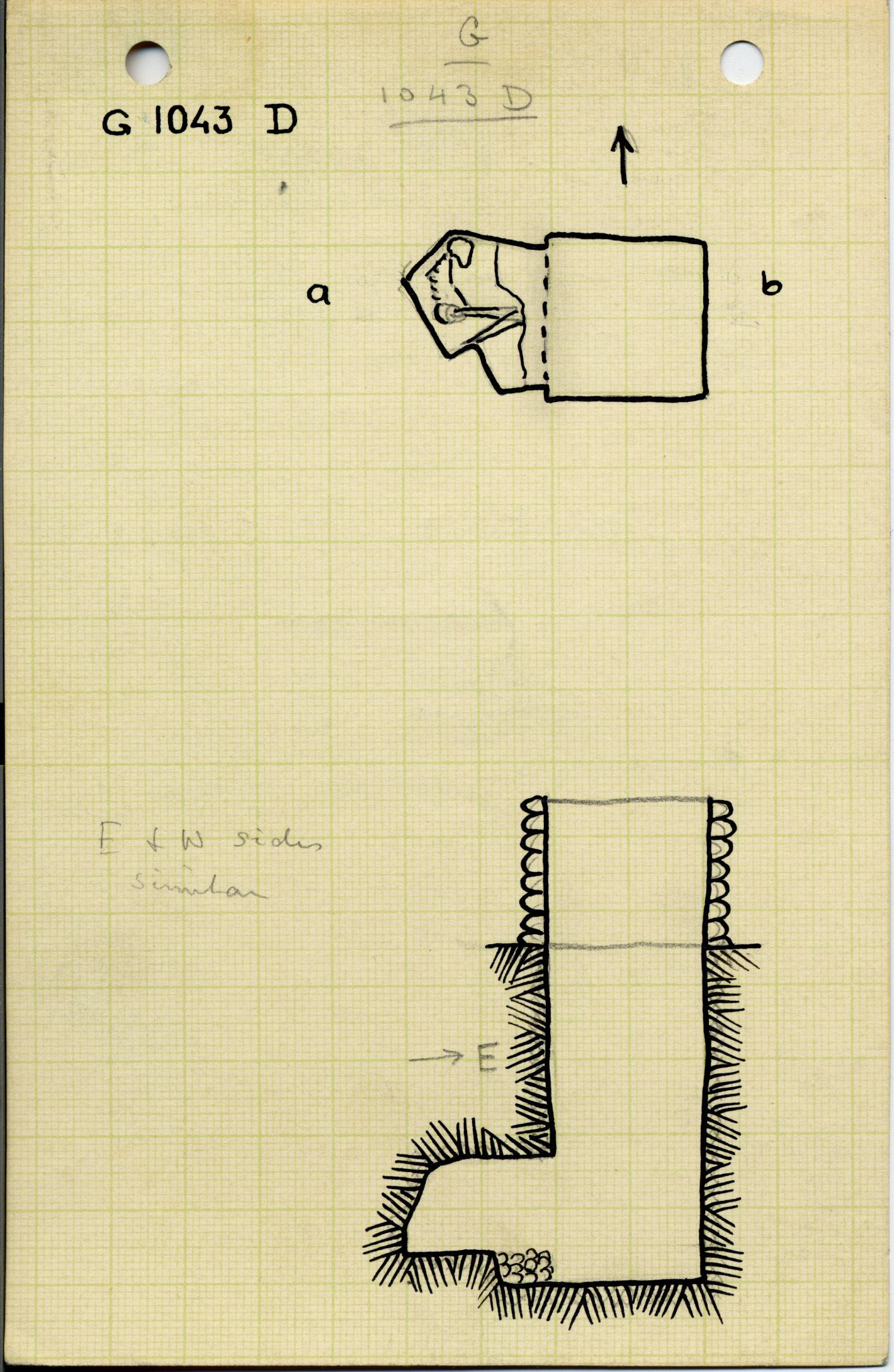 Maps and plans: G 1043, Shaft D