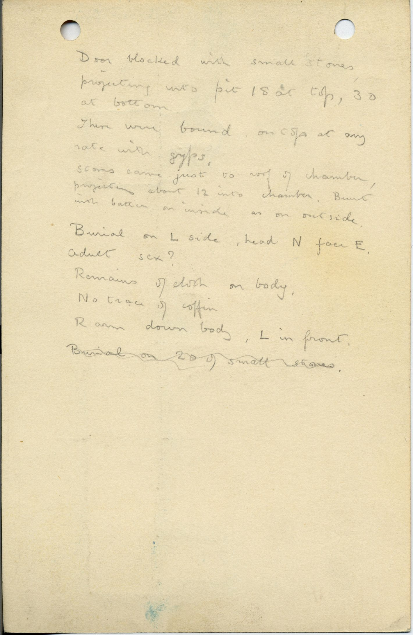 Notes: G 1043, Shaft D, notes