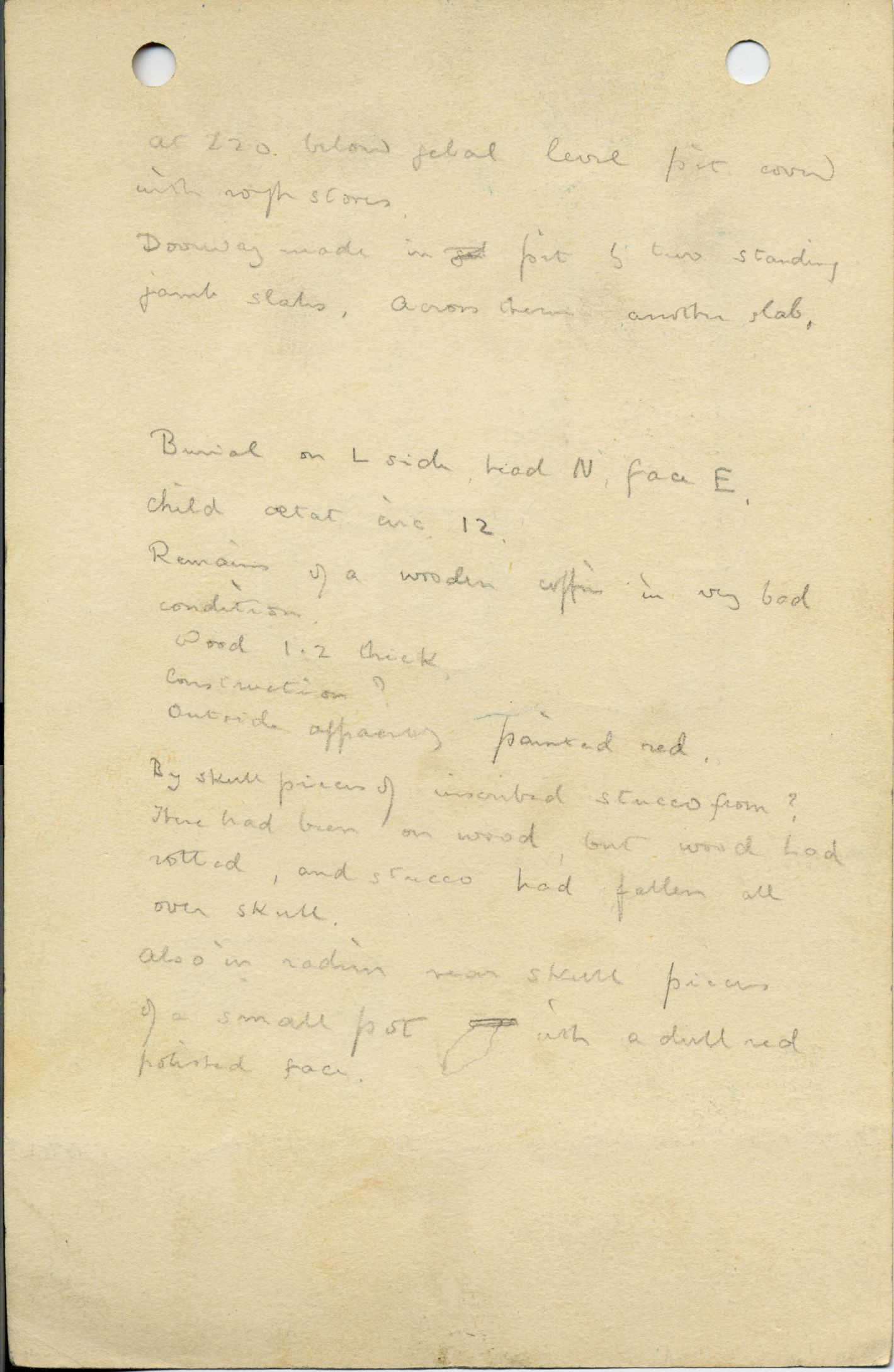 Notes: G 1043, Shaft E, notes