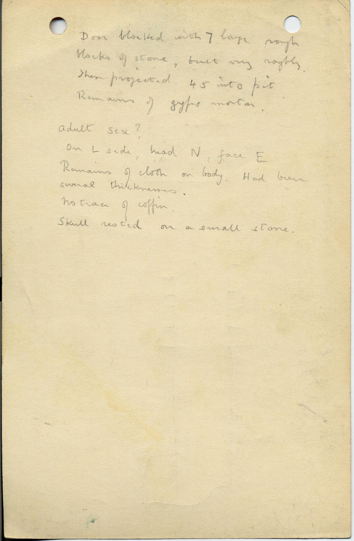 Notes: G 1045+1046: G 1046, Shaft A (= Shaft E), notes