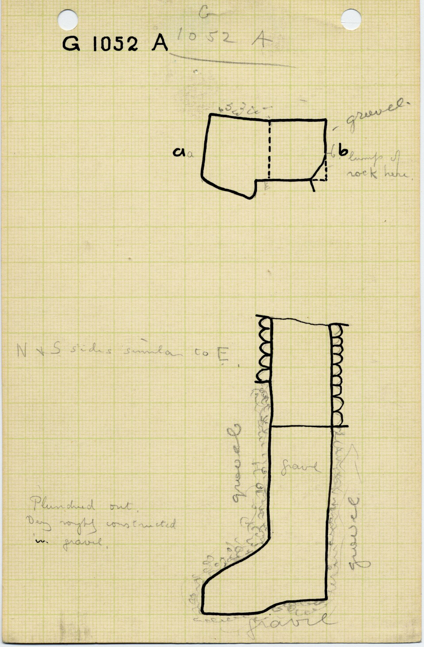 Maps and plans: G 1052, Shaft A
