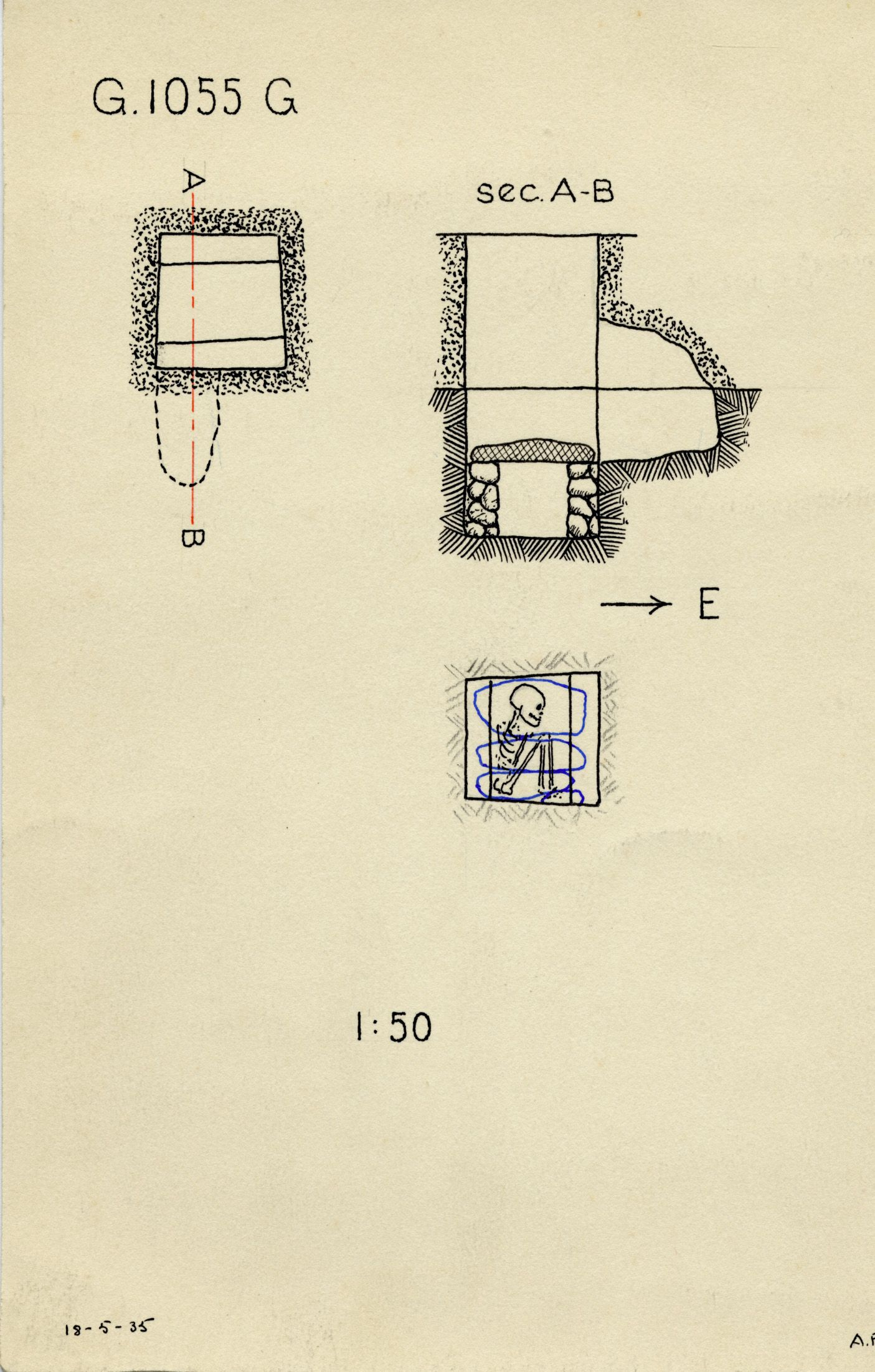 Maps and plans: G 1055, Shaft G