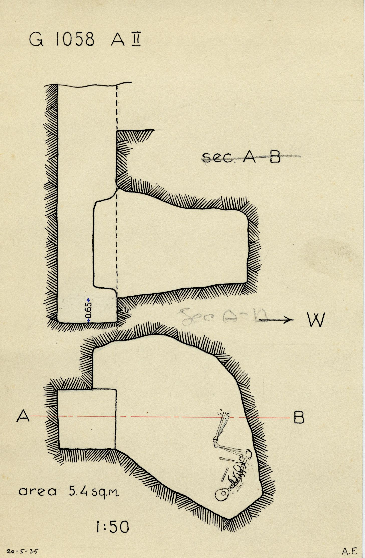 Maps and plans: G 1058, Shaft A (II)