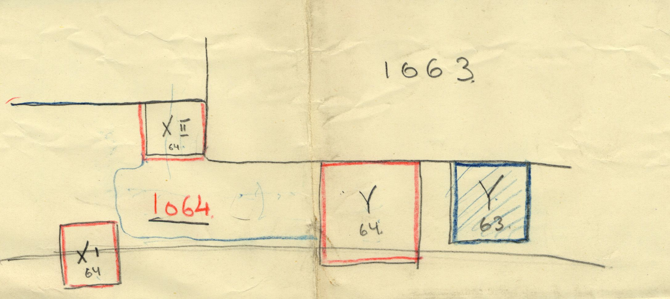 Maps and plans: G 1064, Shaft X1 (= X), X2 (= A), Y & G 1063, Shaft Y