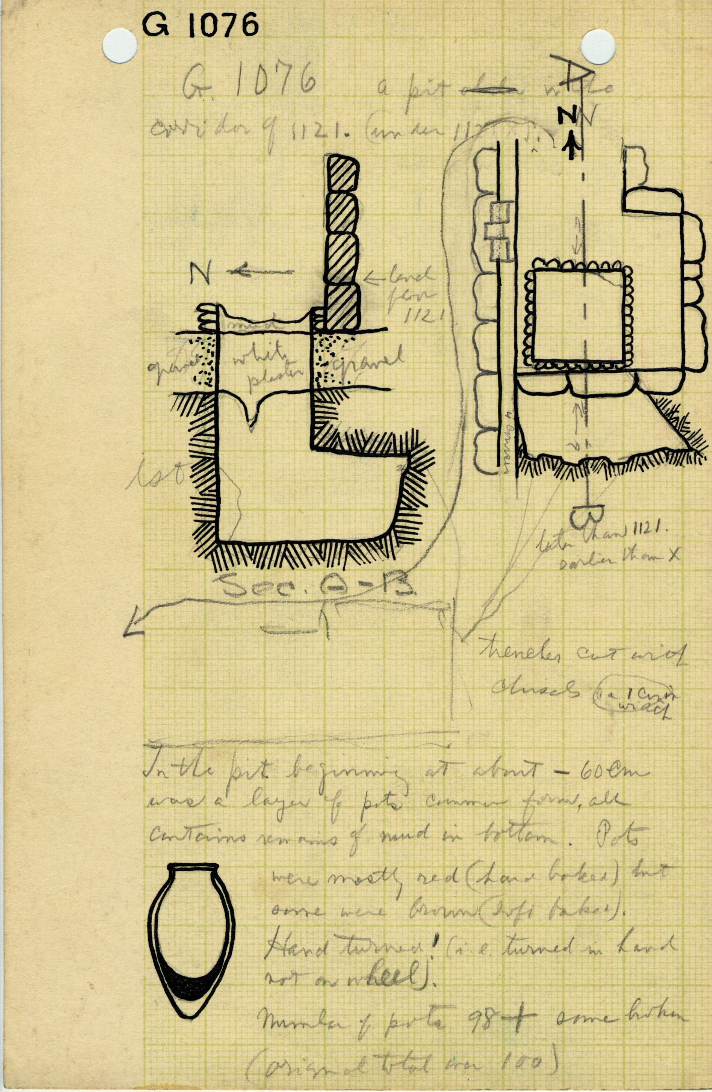 Maps and plans: G 1076, Shaft X (within G 1121 chapel, below G 1121 X)