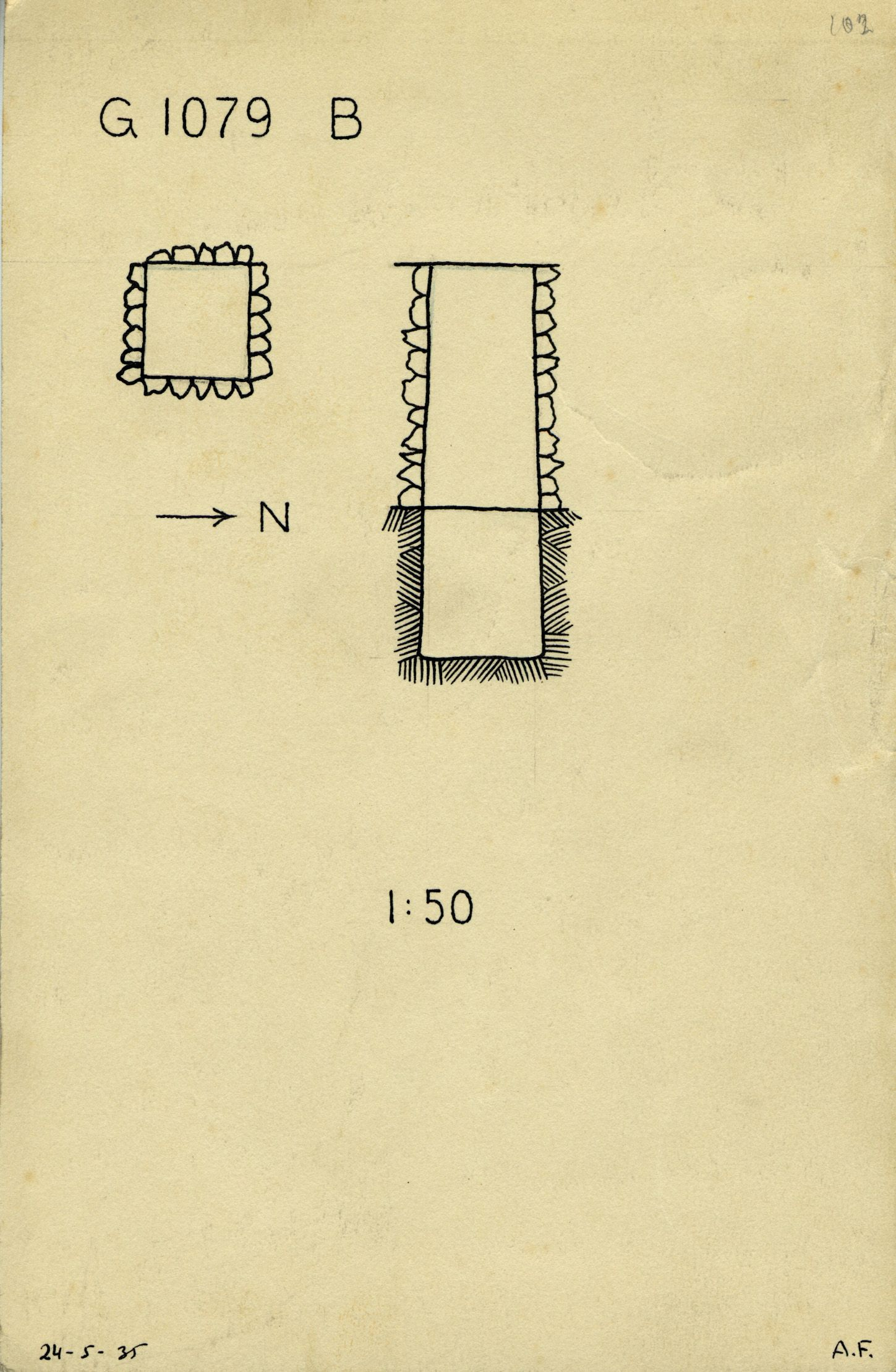 Maps and plans: G 1079, Shaft B