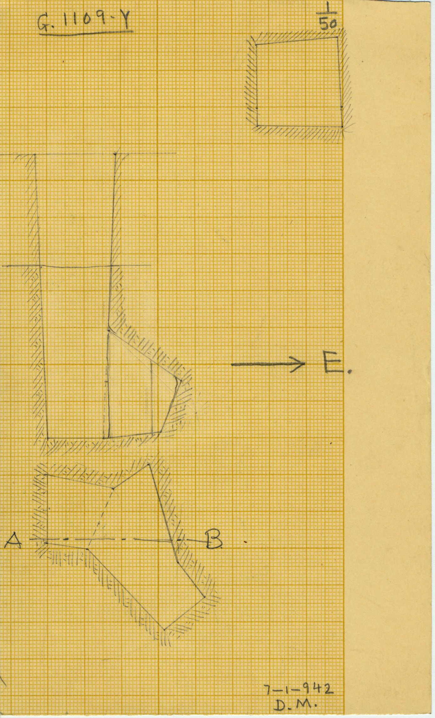 Maps and plans: G 1109, Shaft Y