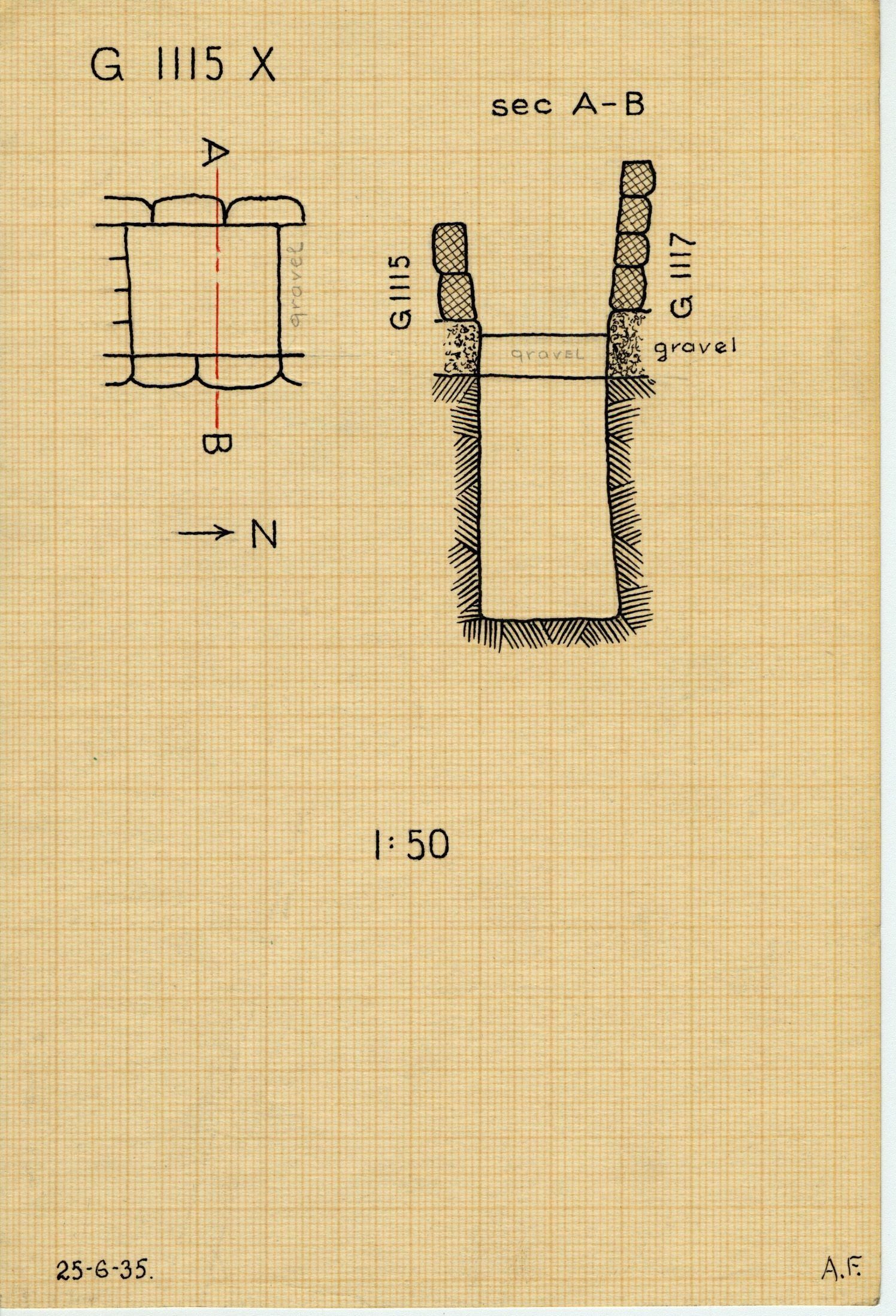 Maps and plans: G 1115, Shaft X