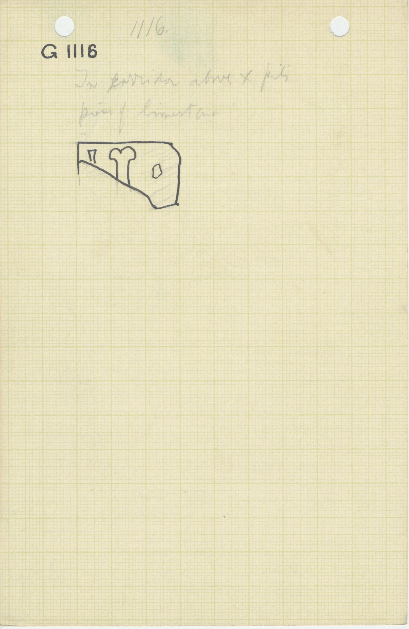 Maps and plans: G 1116, Debris east of mastaba, fragment of limestone tray for Opening of the Mouth set