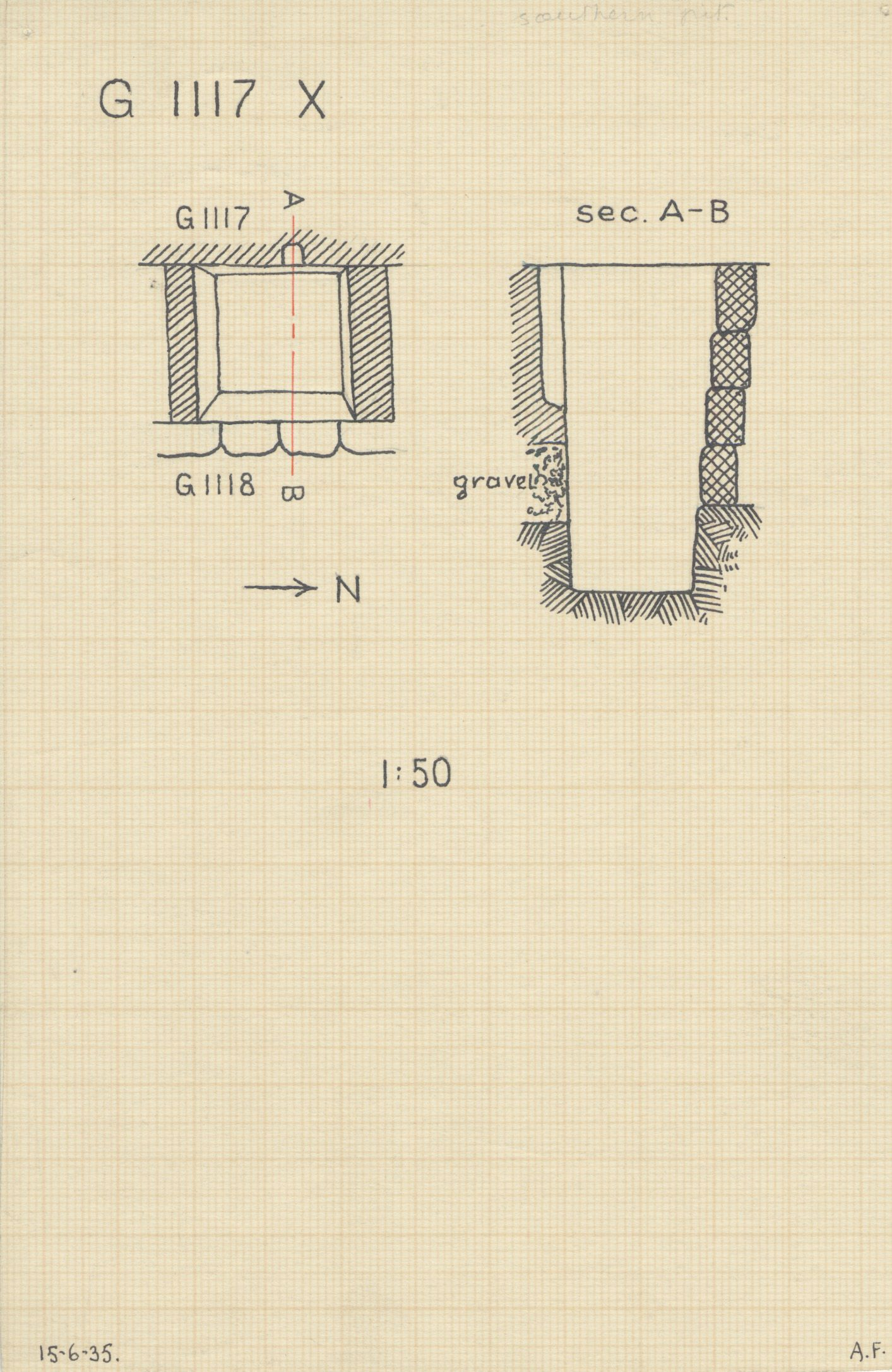 Maps and plans: G 1117, Shaft X