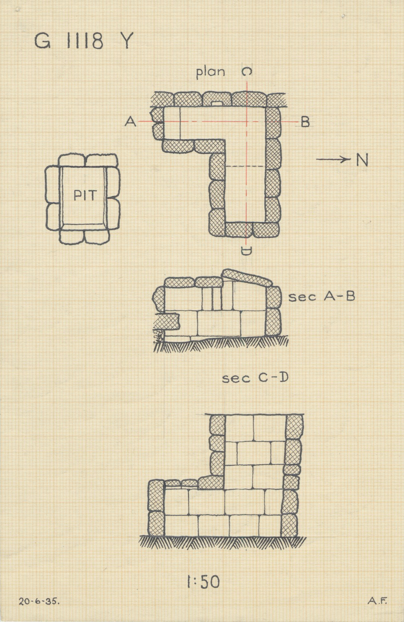 Maps and plans: G 1118, Shaft Y