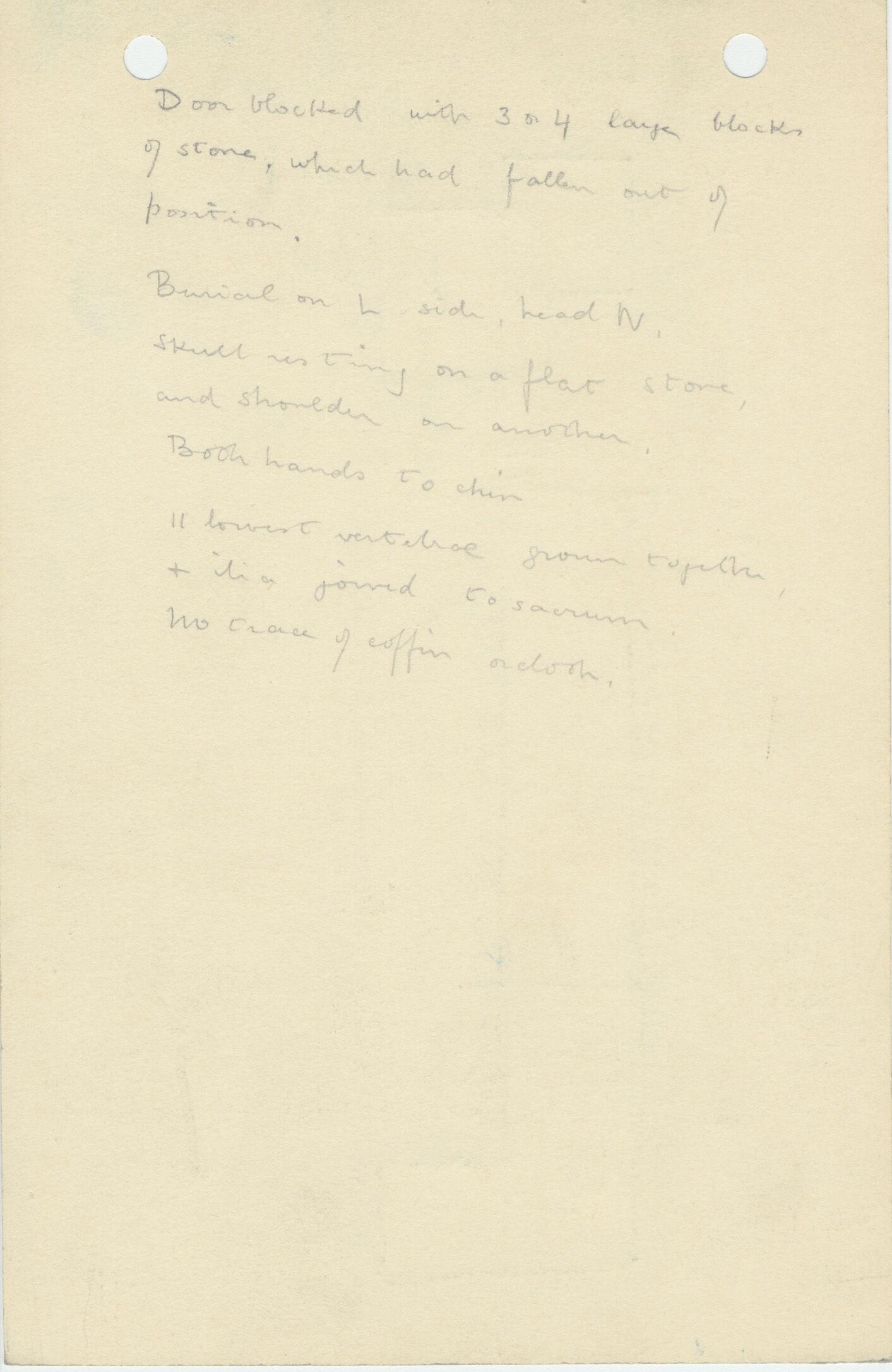 Notes: G 1120, Shaft D, notes