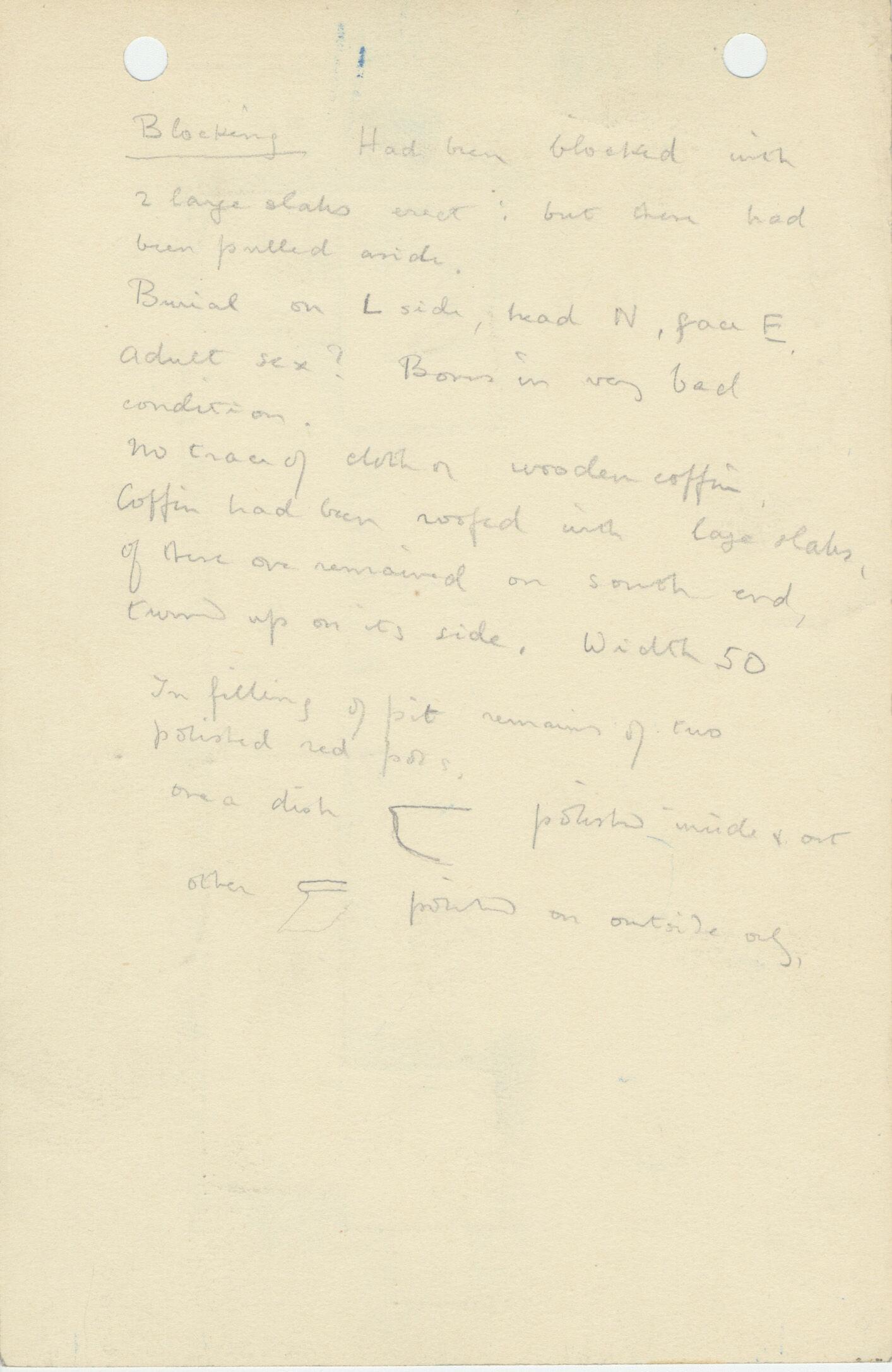 Notes: G 1121, Shaft B, notes