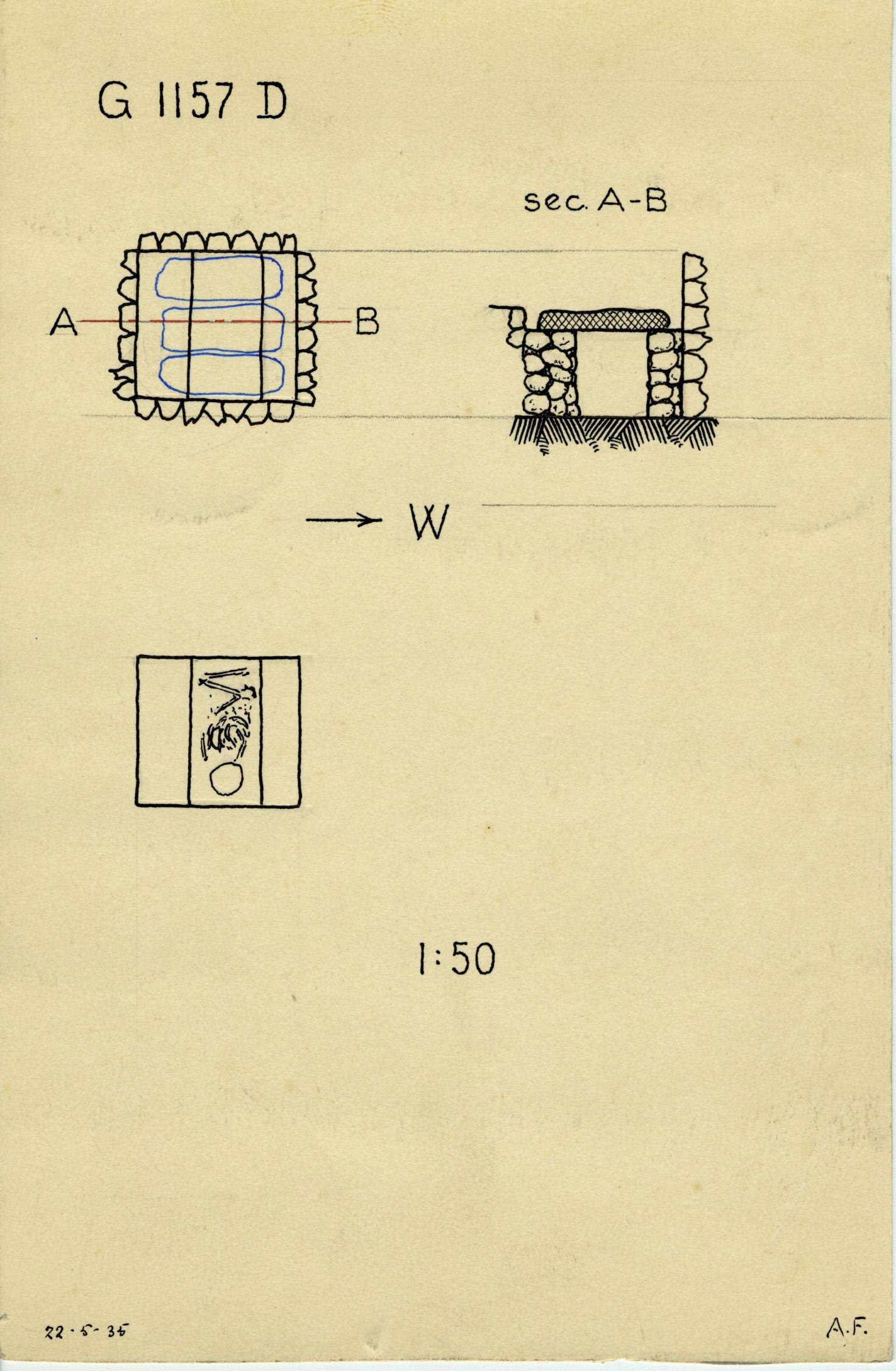 Maps and plans: G 1157, Shaft D