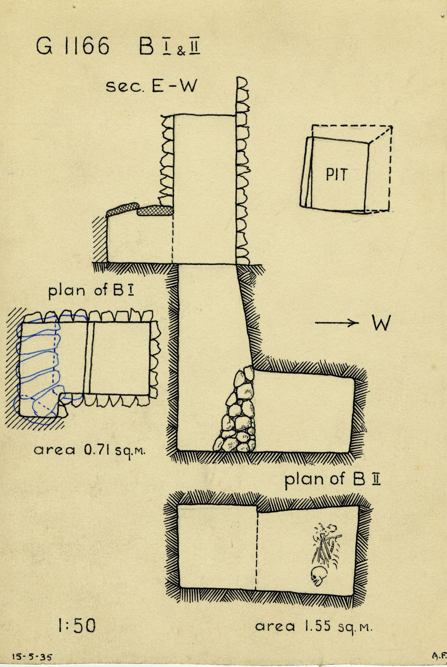 Maps and plans: G 1163+1166: G 1166, Shaft B