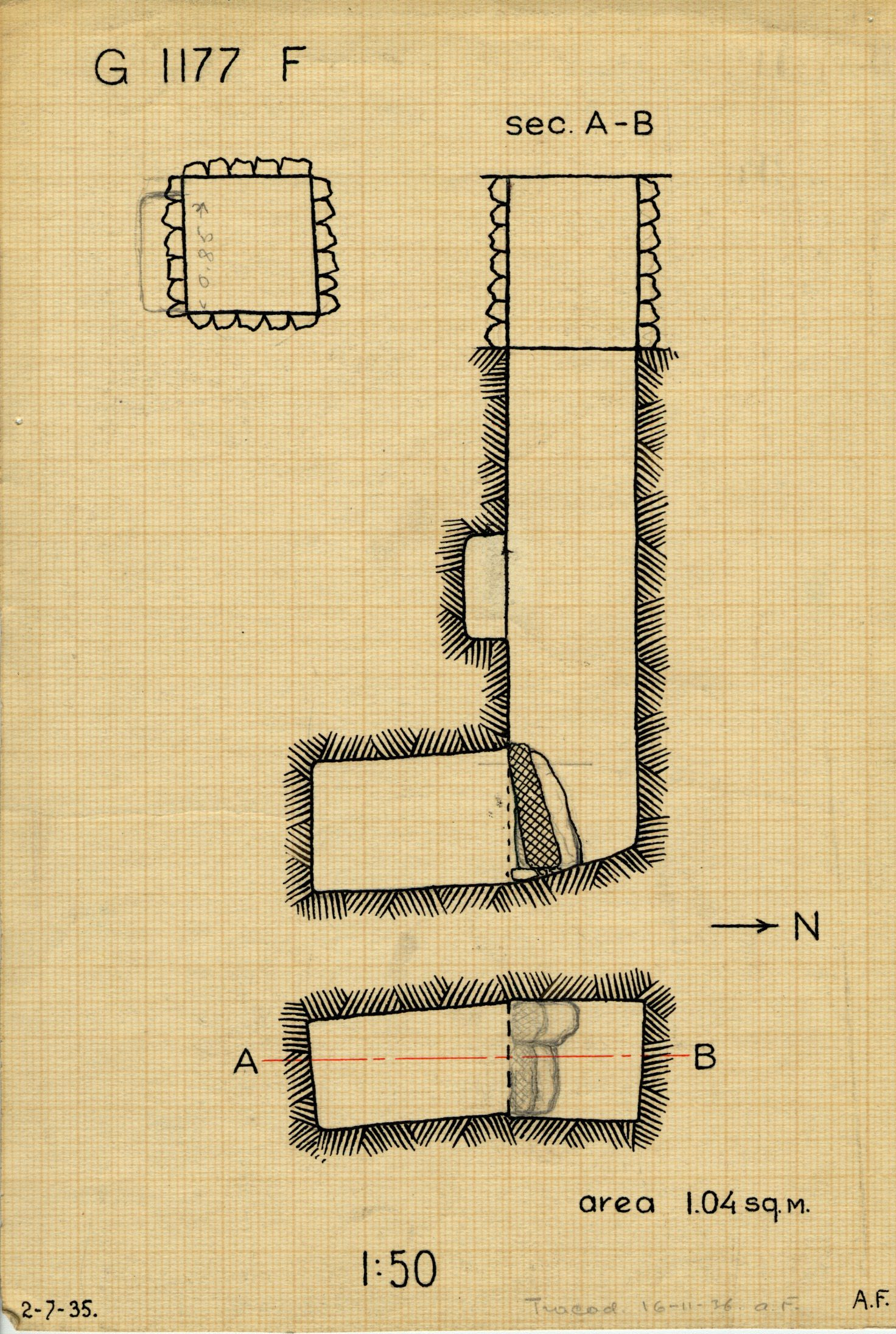 Maps and plans: G 1177, Shaft F