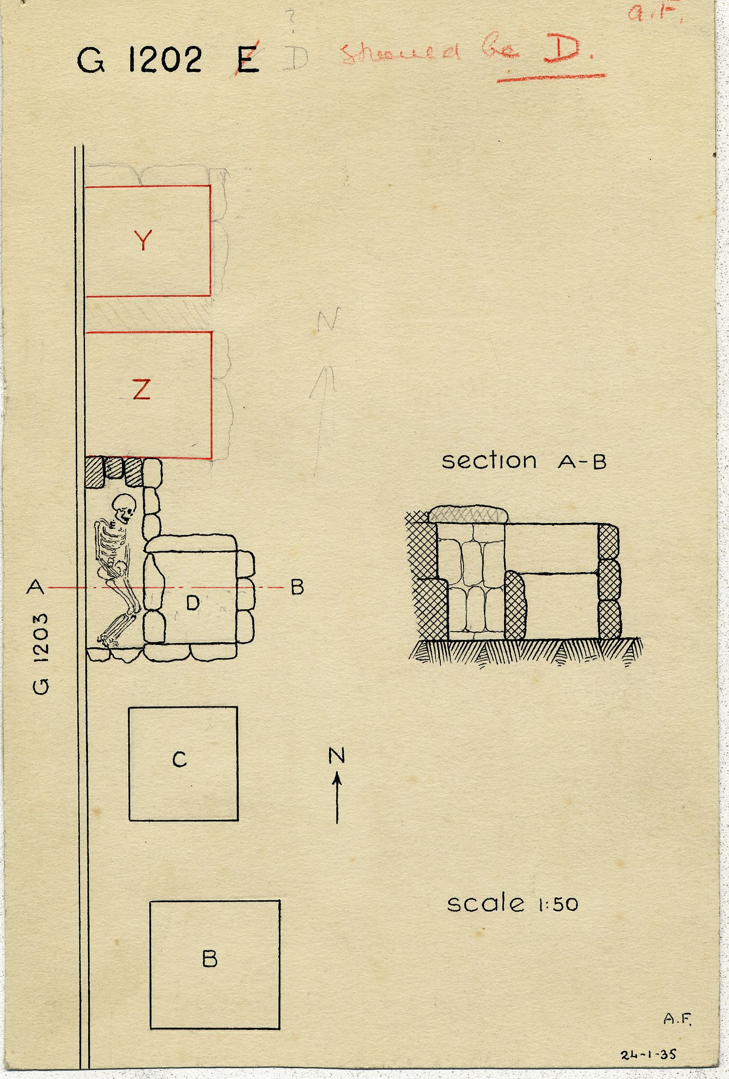 Maps and plans: G 1202, Shaft D