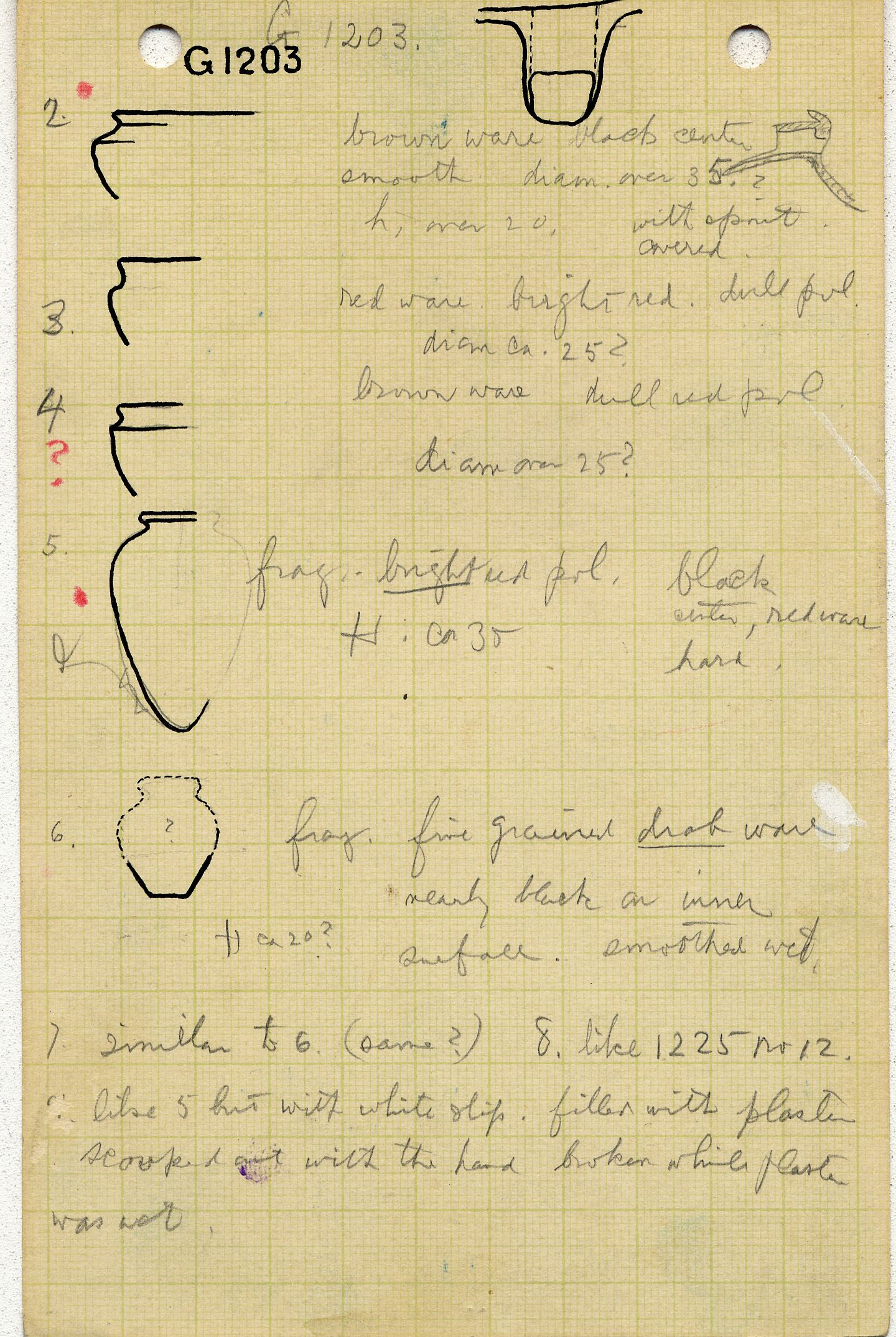 Notes: G 1203, Objects