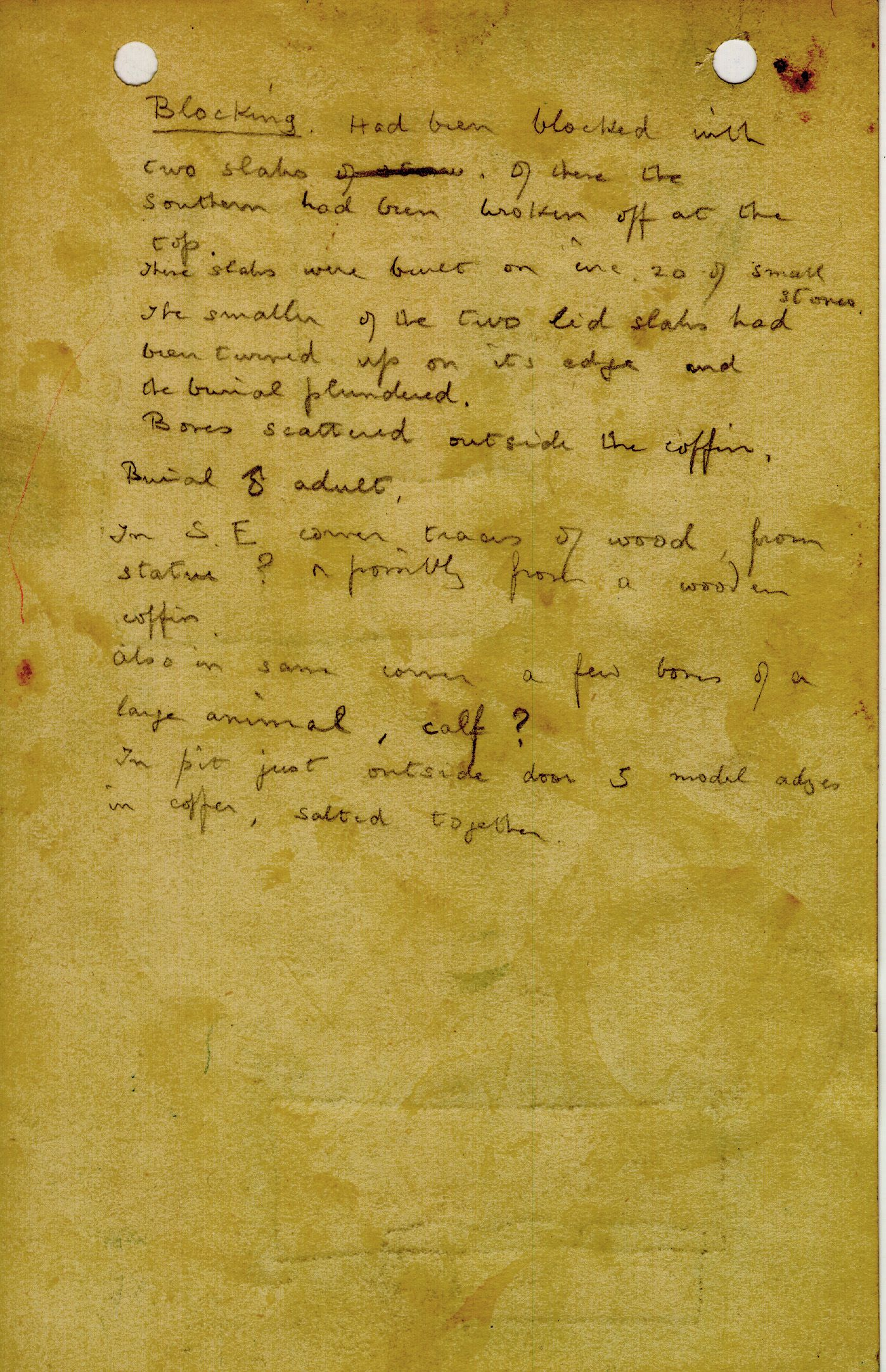 Notes: G 1208, Shaft F (I), notes