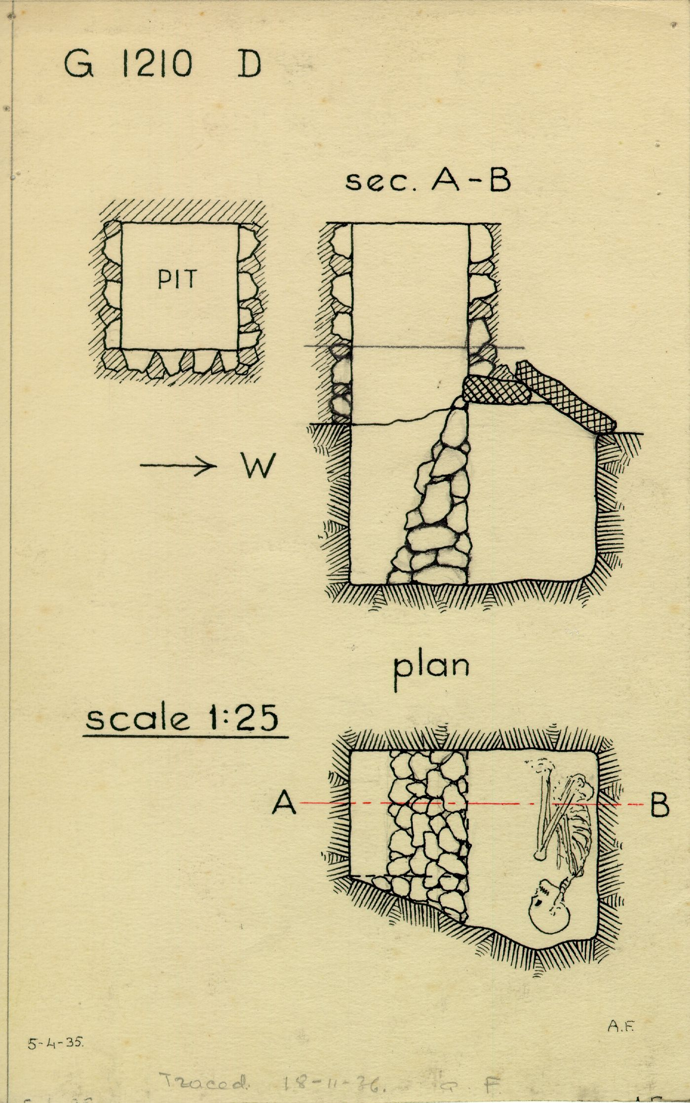 Maps and plans: G 1210, Shaft D