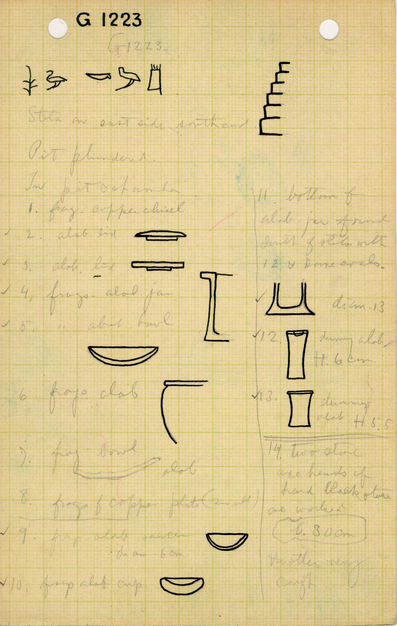 Notes: G 1223, Objects