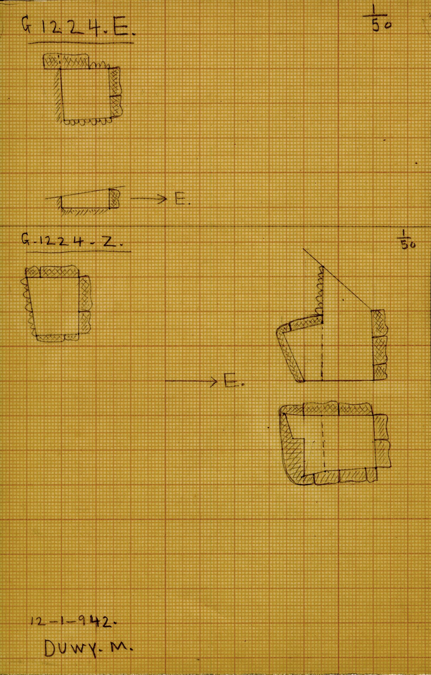 Maps and plans: G 1224+1311: G 1224, Shaft E and Z